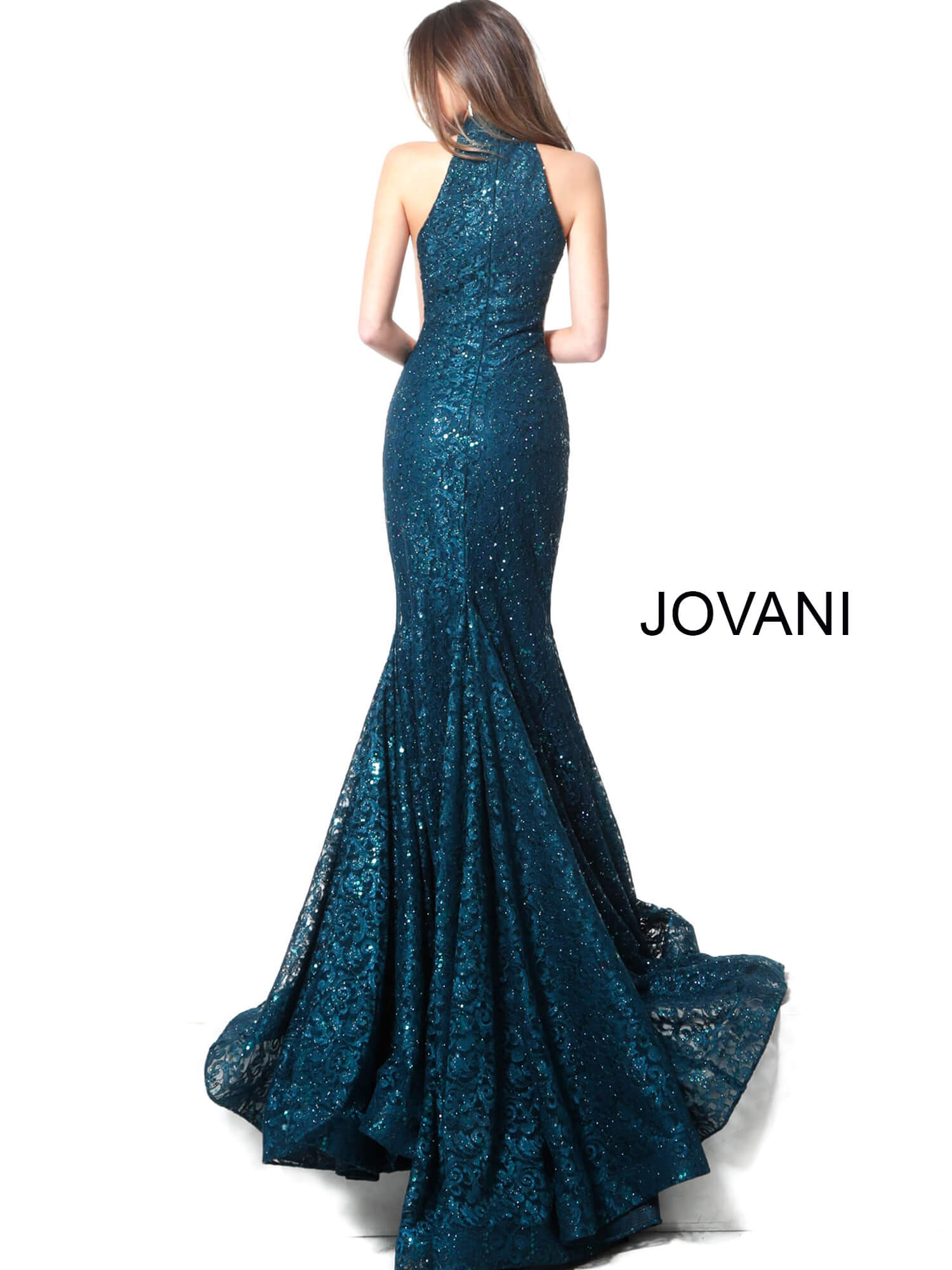 peacock lace sleeveless Jovani dress 64522 on mobile 1
