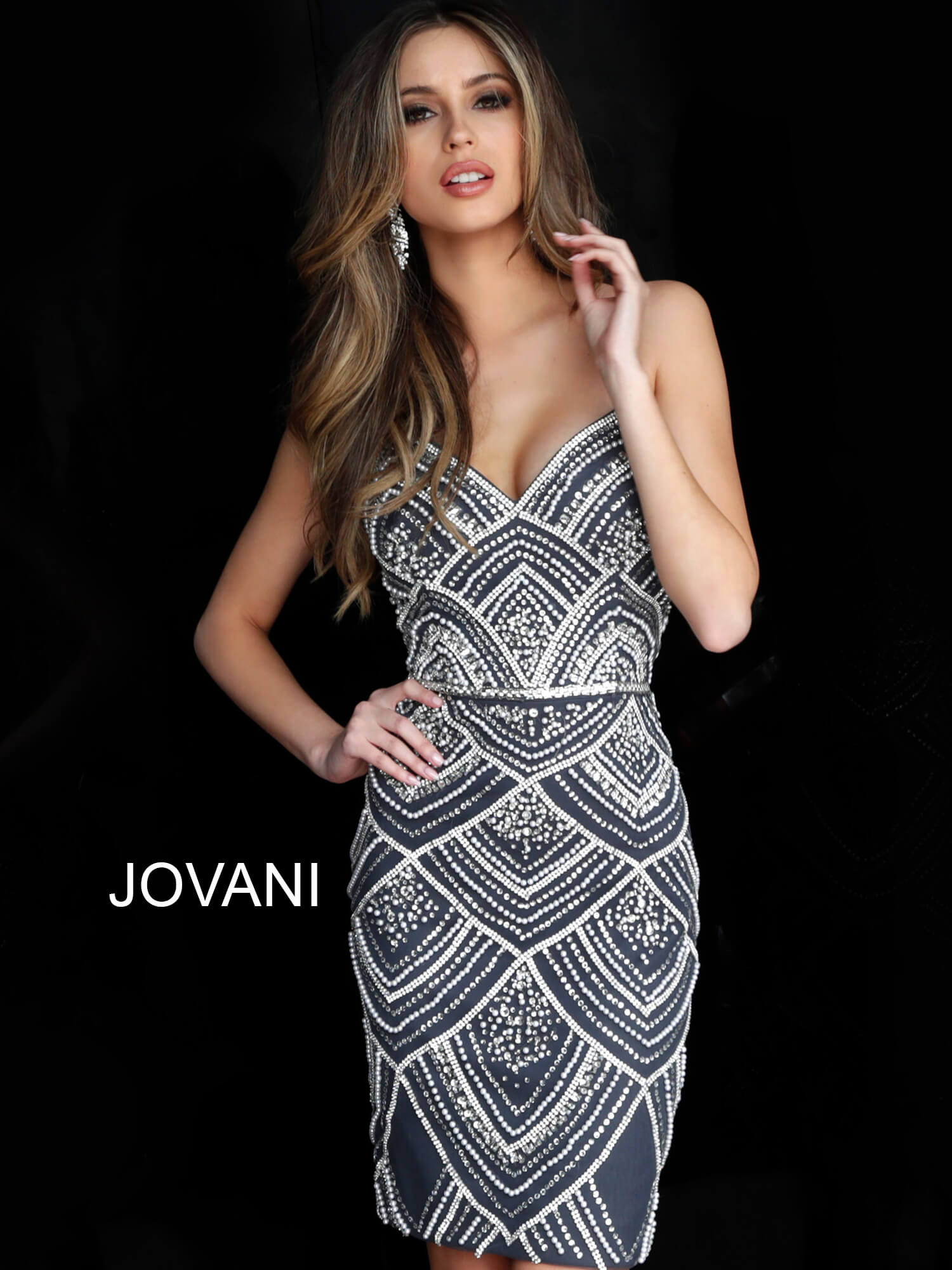 Jovani 64598 Nude Beaded Spaghetti Straps Short Dress