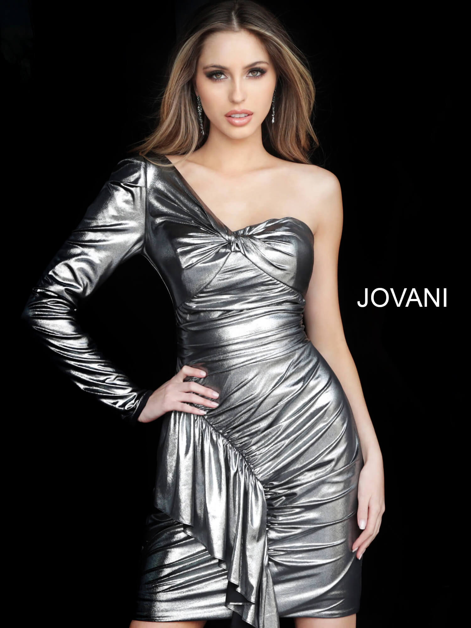 jovani Jovani 66322 Silver One Shoulder Long Sleeve Ruched Cocktail Dress