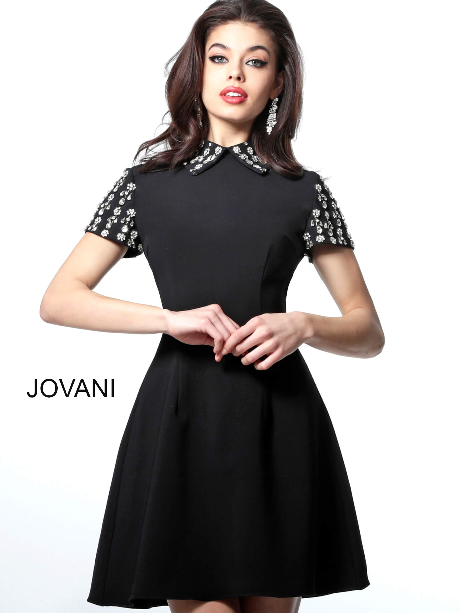 jovani Black Short Embellished Sleeves Cocktail Dress M1697
