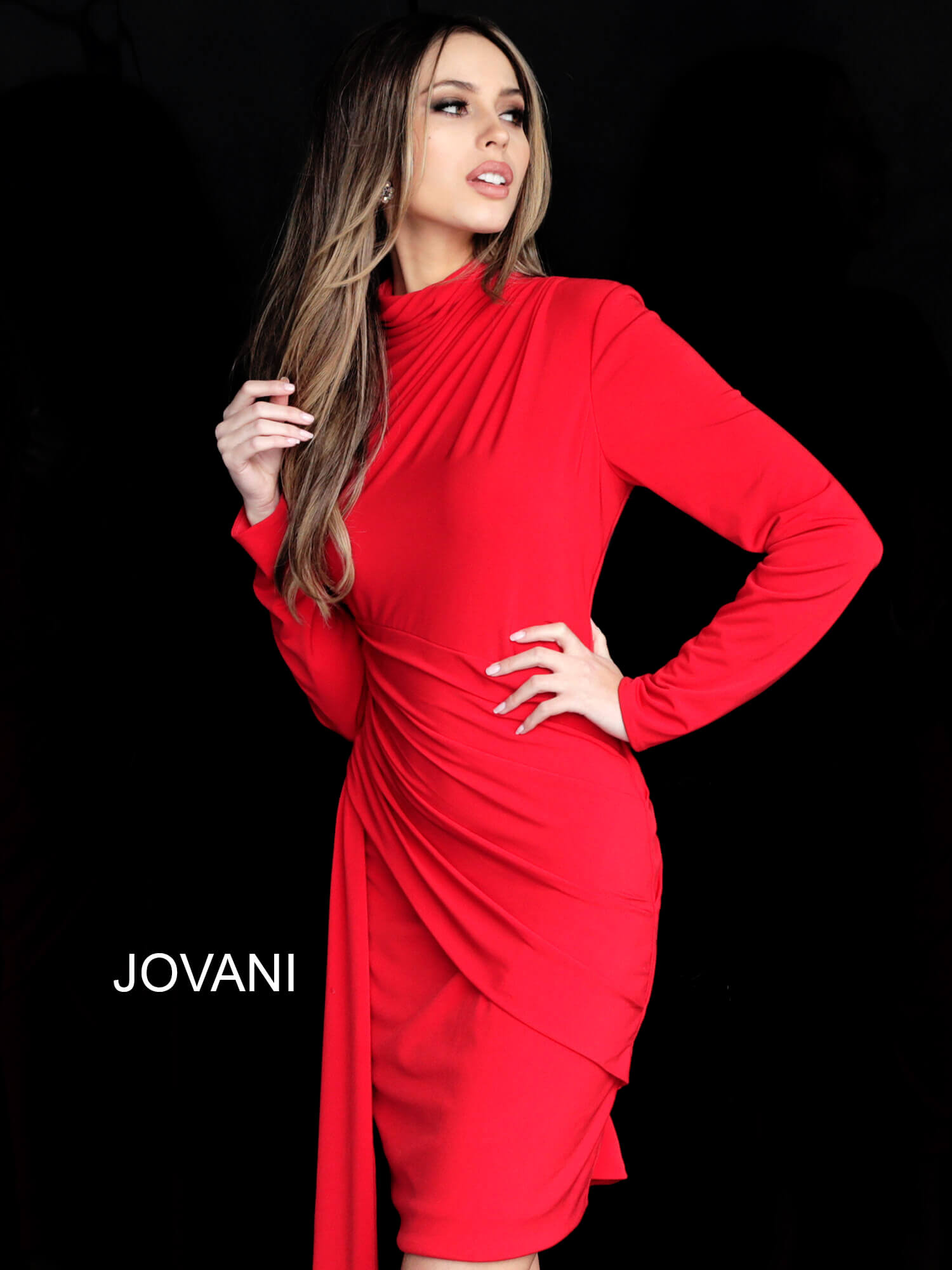 Jovani red jersey ruched cocktail dress M3362