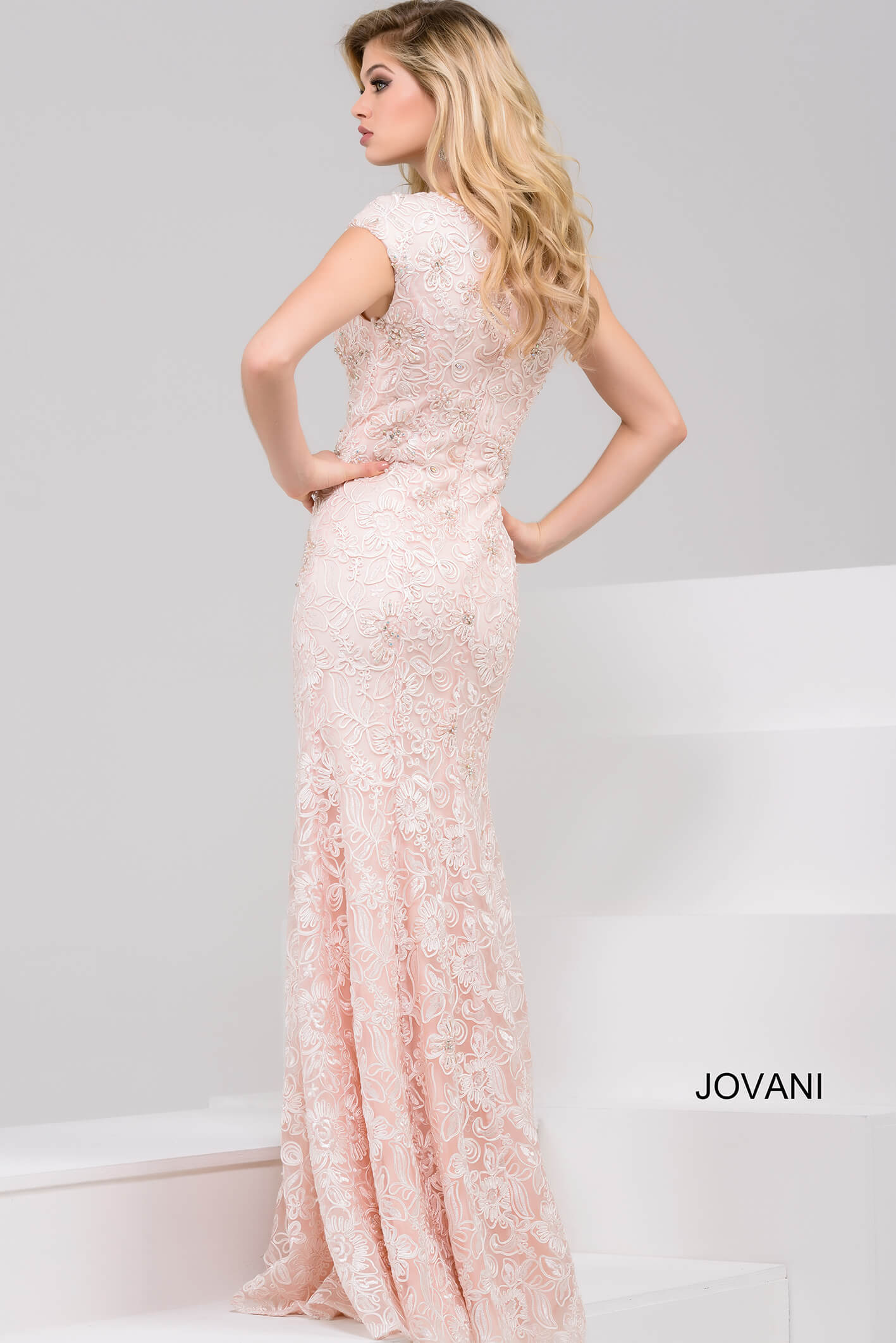 Jovani blush cap sleeve fitted evening dress 47765 on mobile 0