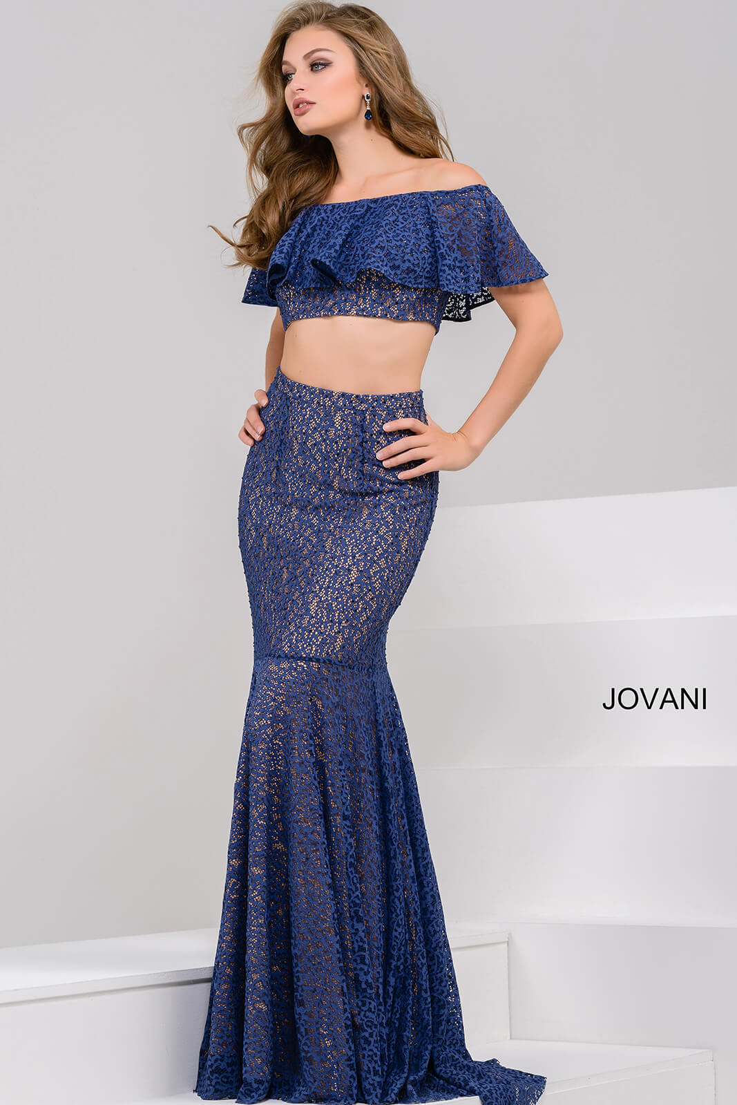 jovani Navy Lace Two Piece Off the Shoulder Prom Dress JP49740
