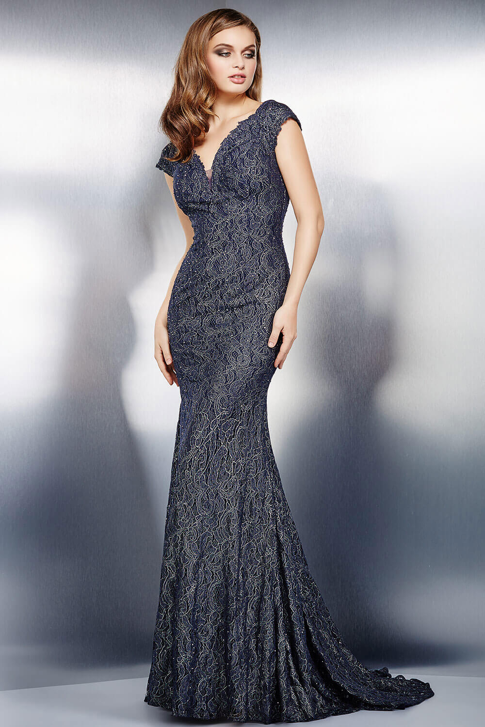 jovani Jovani 26846 Grey Lace Mother of the Bride Dress