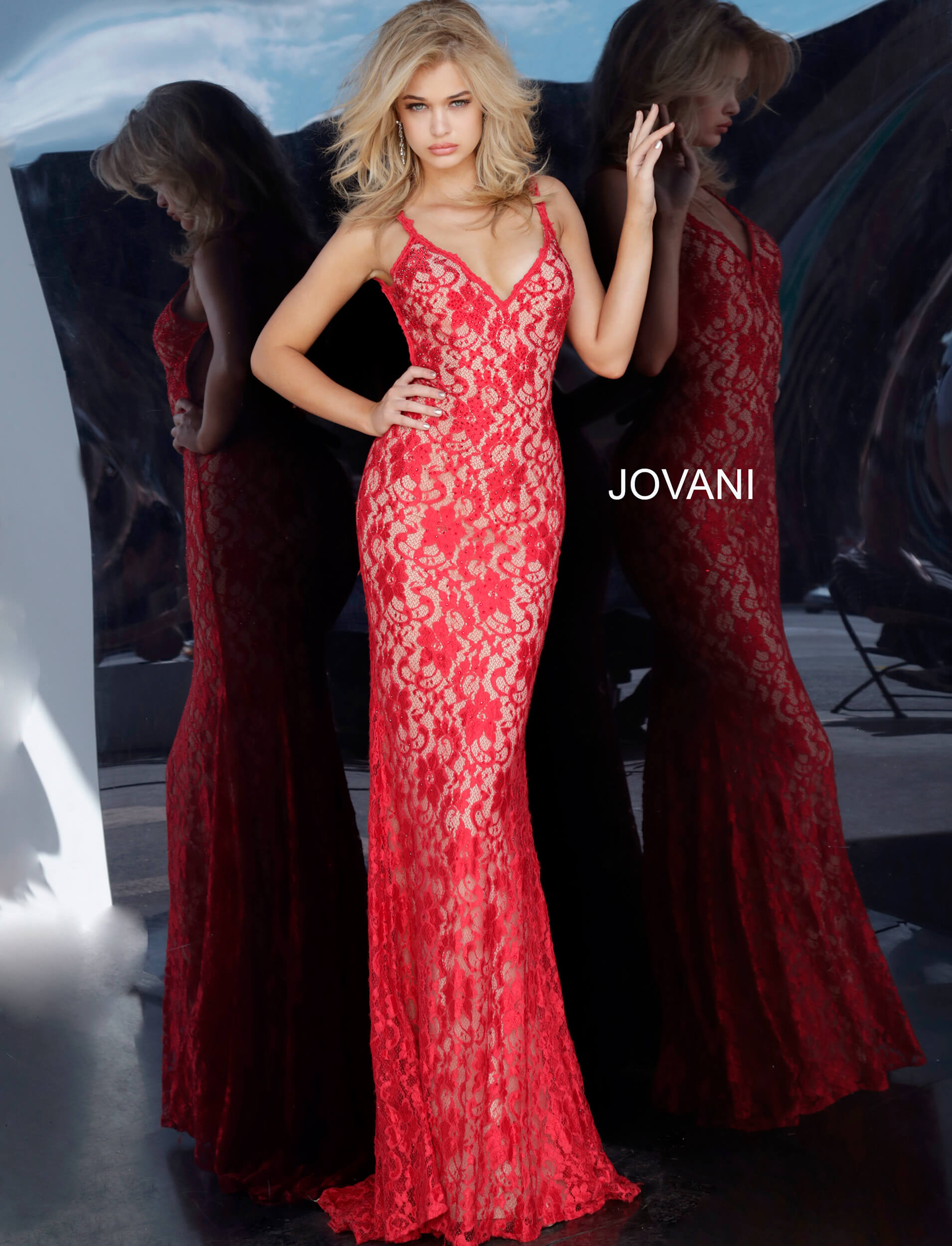 sleeveless red lace fitted dress 00782 on mobile 2