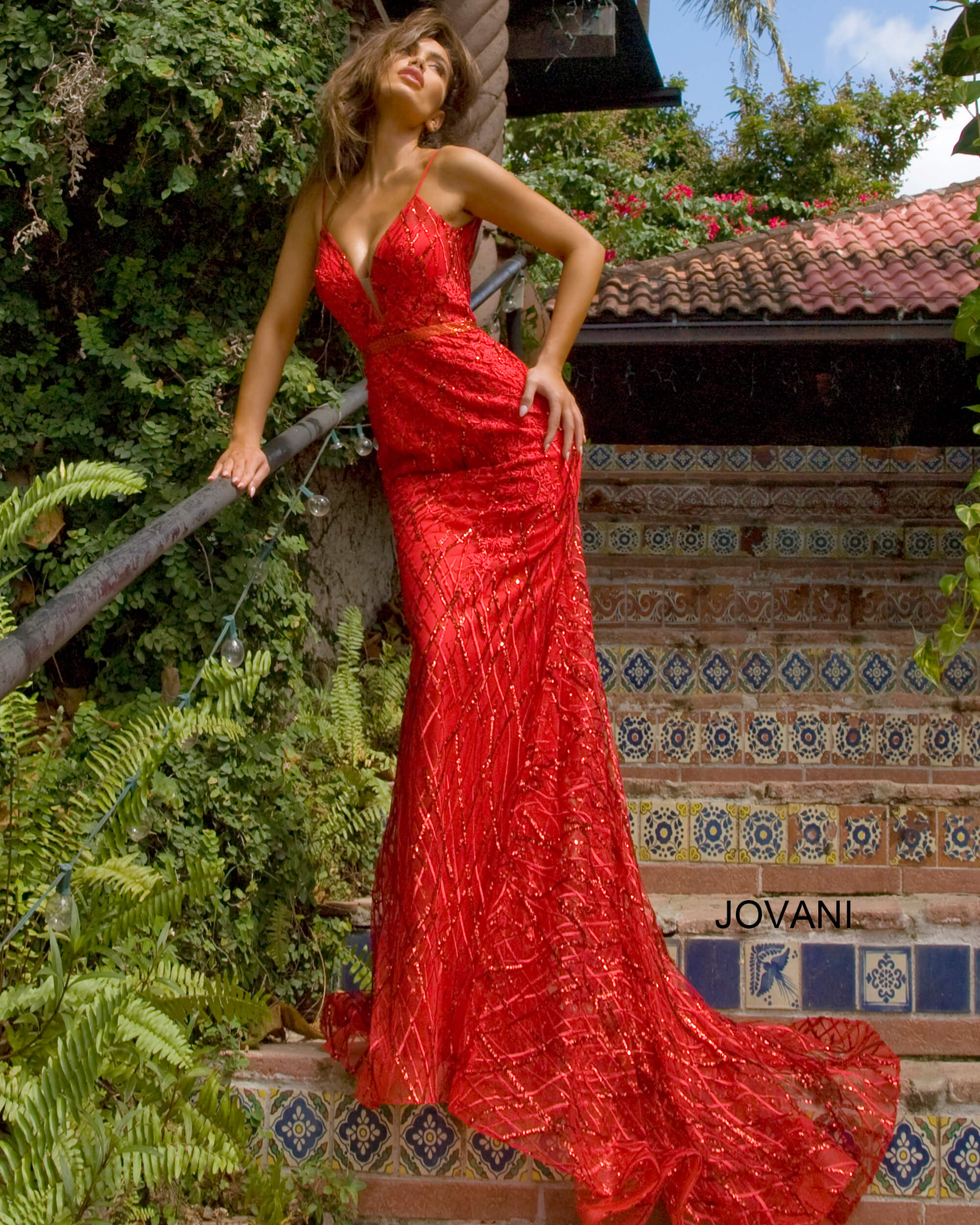 red long tail dress 02245