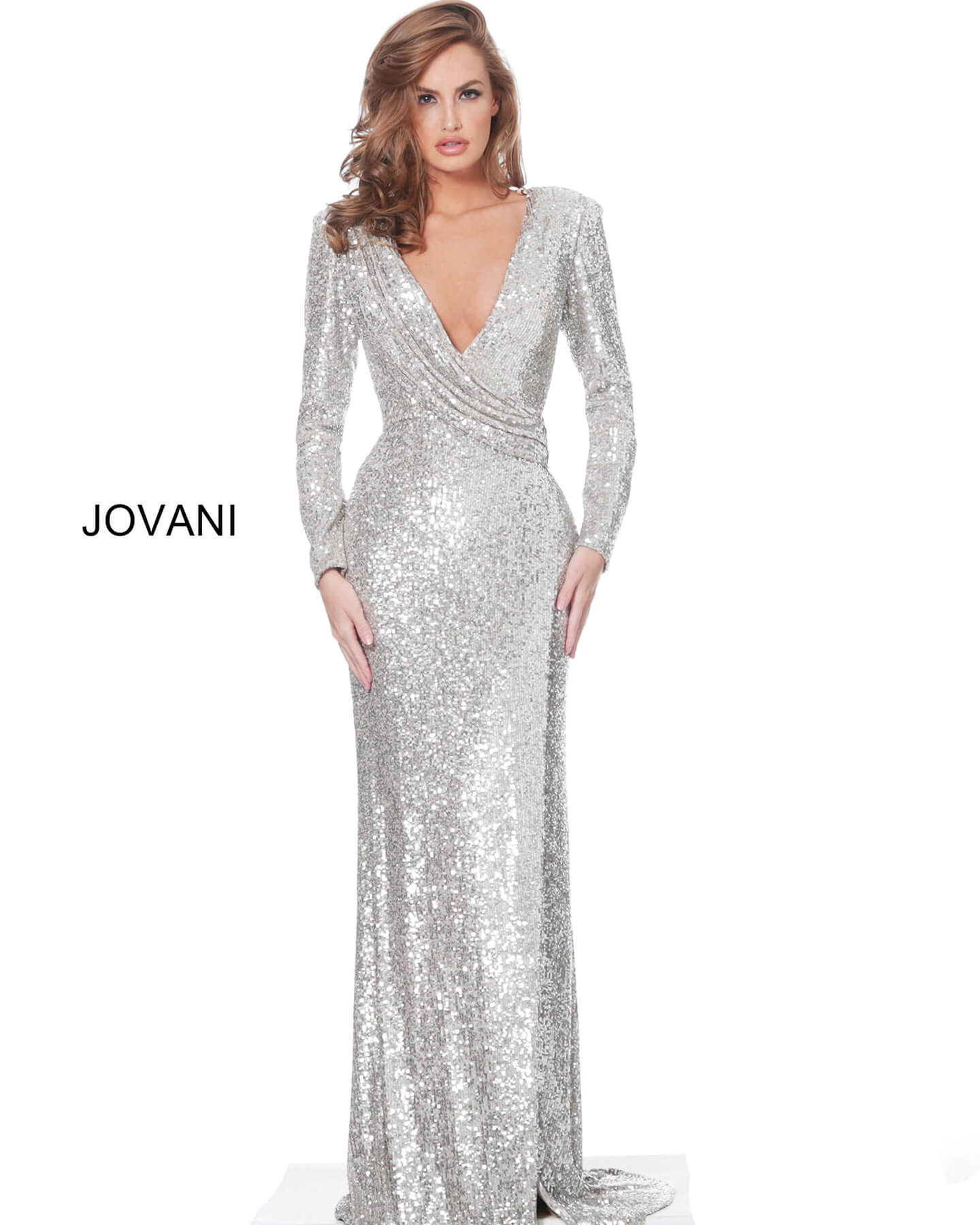 jovani Jovani 04886 Nude Silver Sequin V Neck Prom Dress