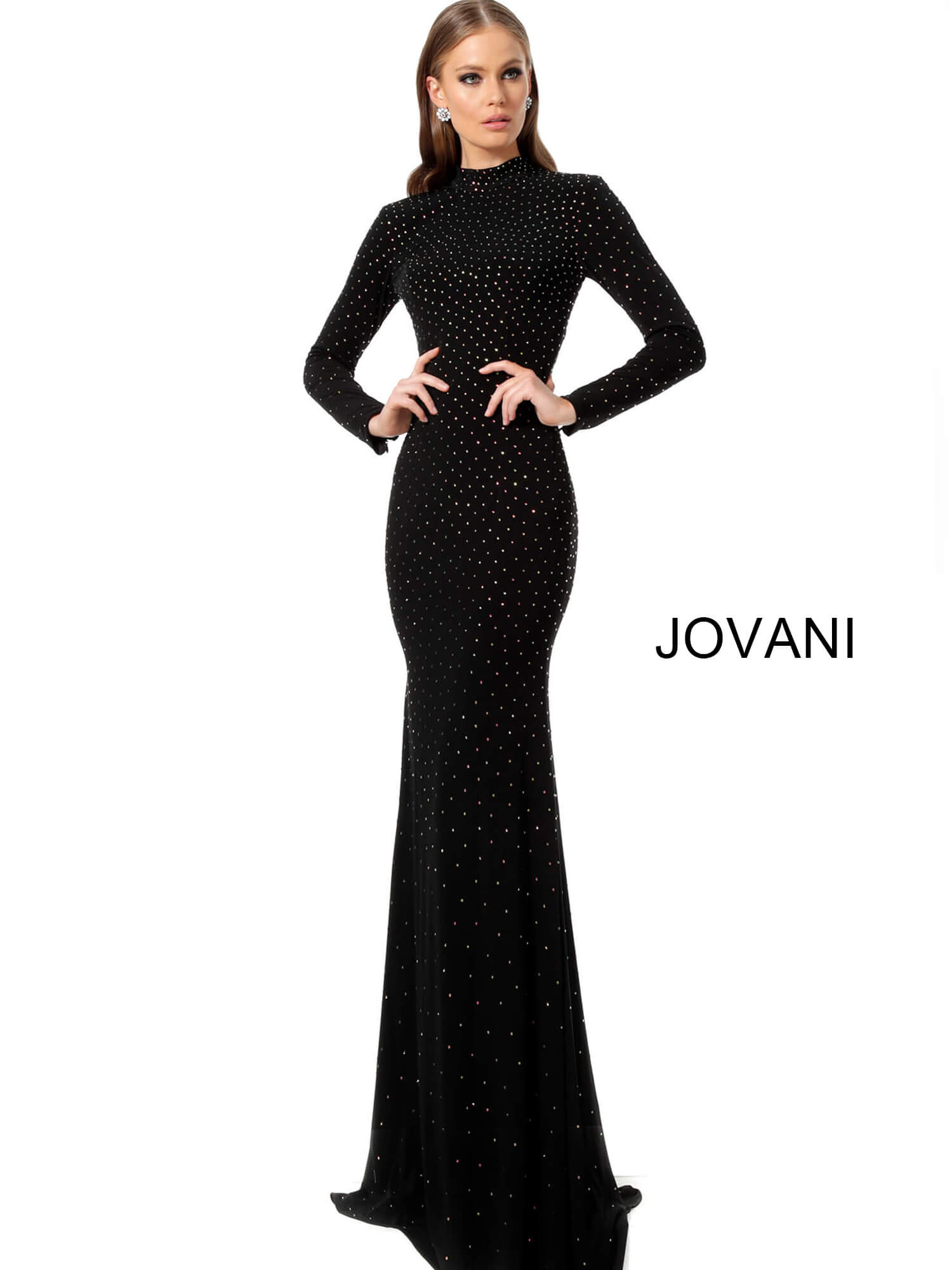 jovani Black High Neck Beaded Fitted Jovani Dress 1459 on mobile 5