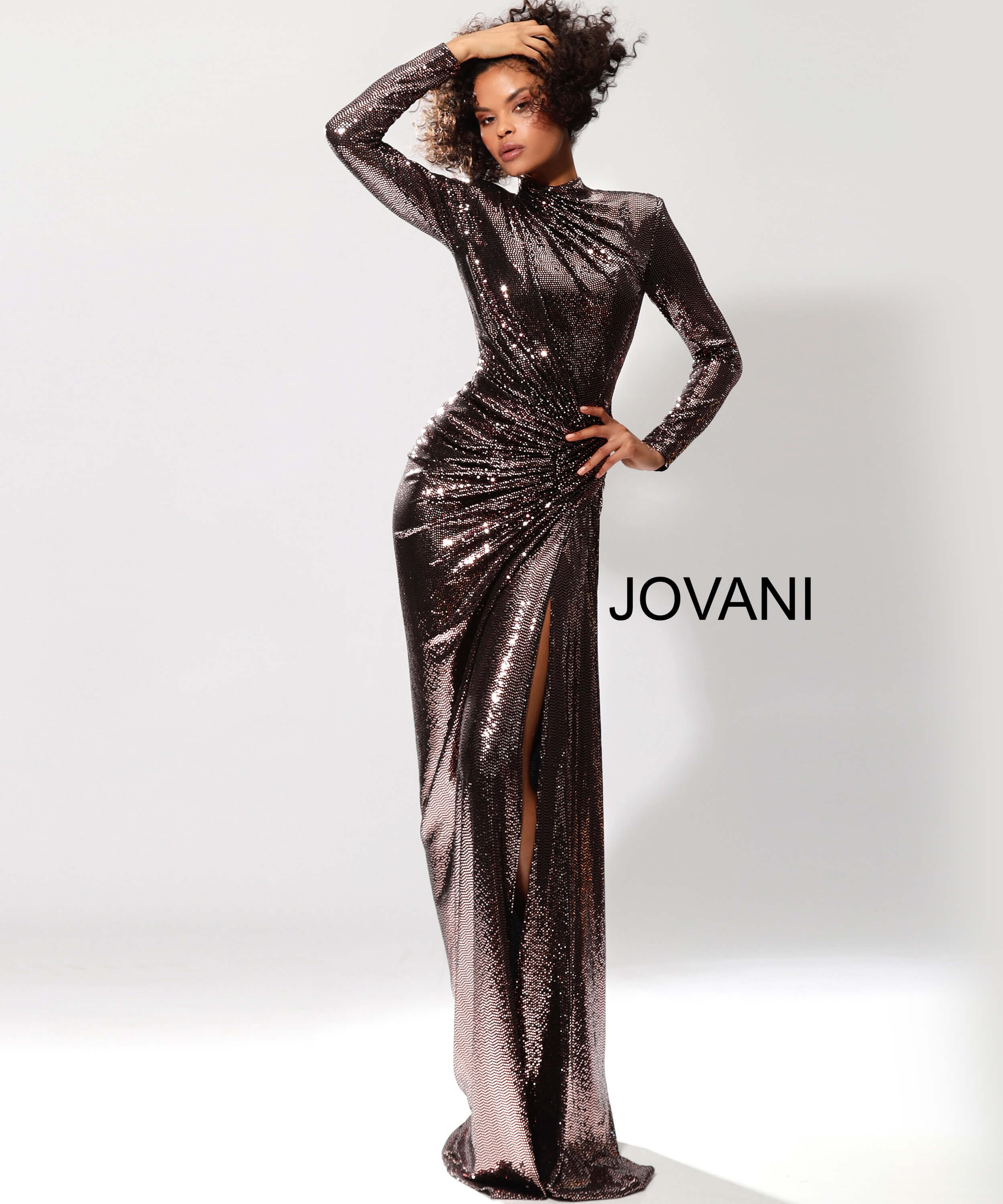 Long Sleeve Metallic Prom Dress 1707 on mobile 0