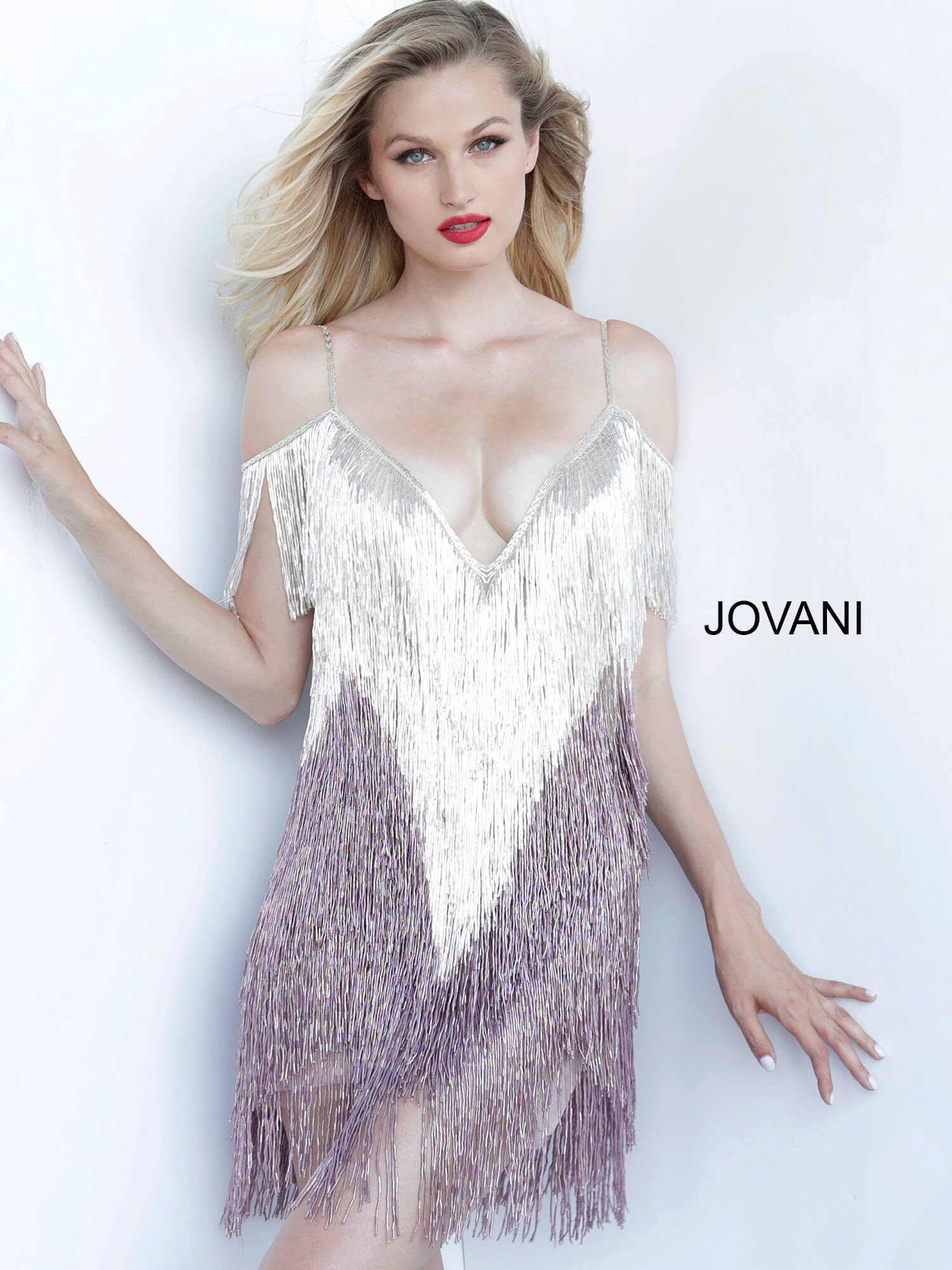 jovani Jovani 1753 Multi Plunging Neckline Fringe Cocktail Dress  on mobile 1
