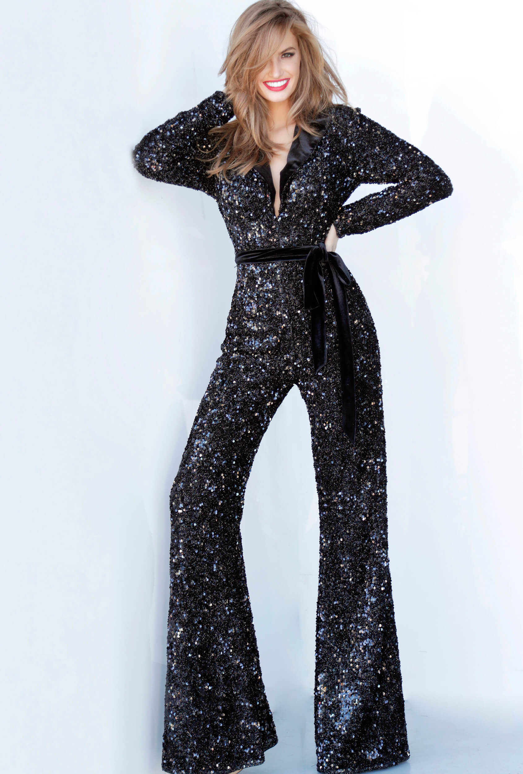 Black flare pants evening jumpsuit Jovani 1931