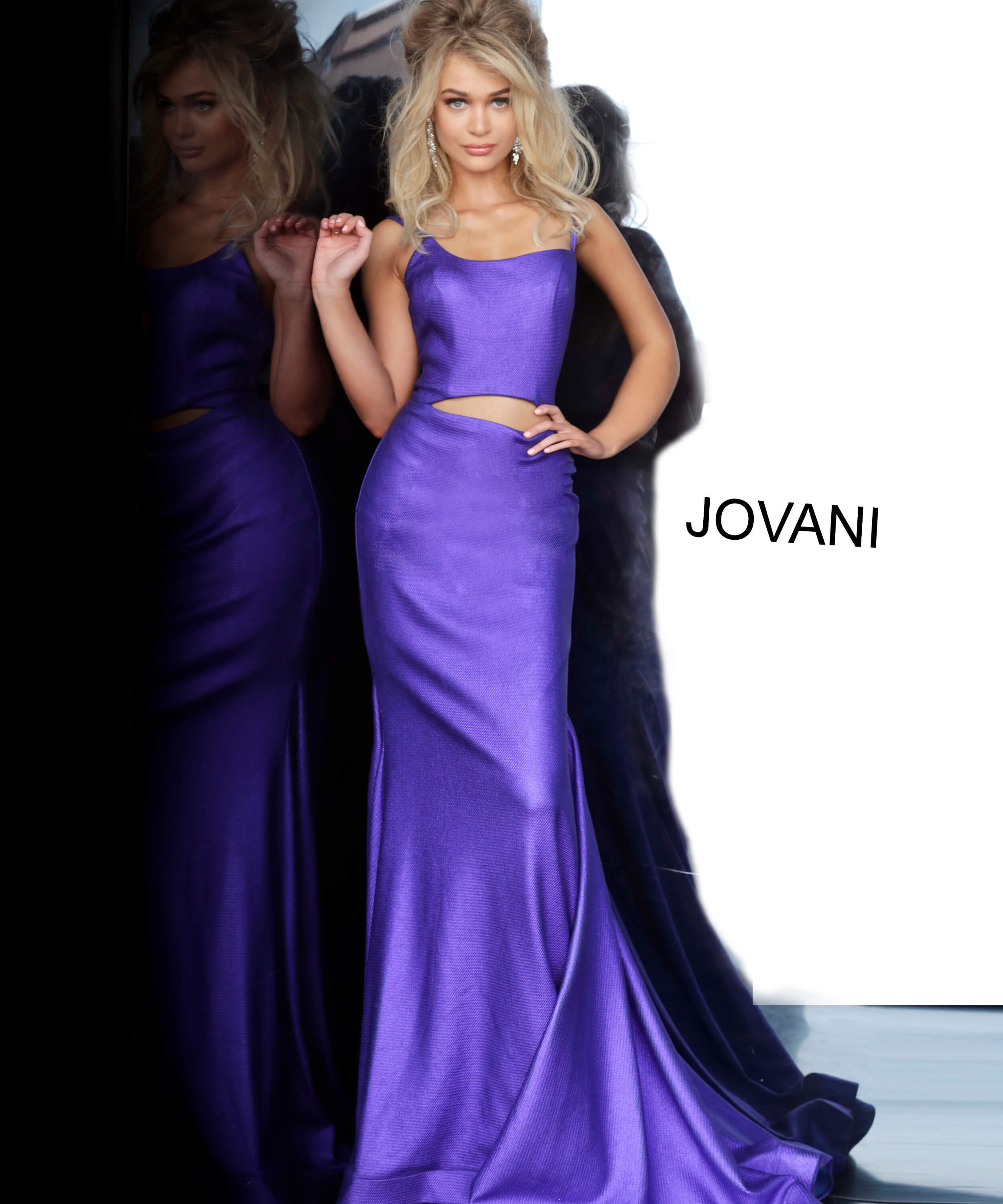 Purple Front Cut Out Fitted Jovani Prom Dress 2137