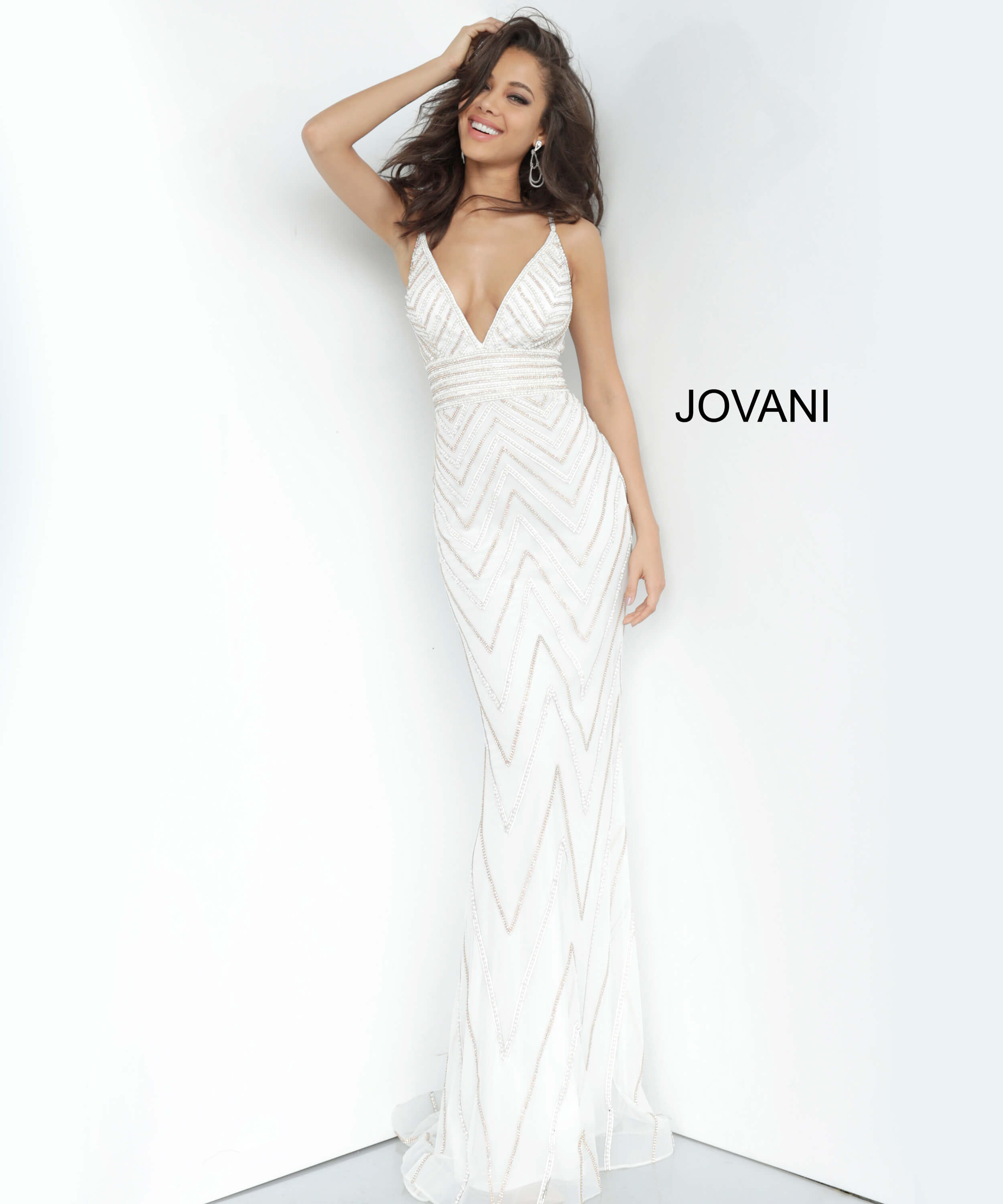 jovani Jovani 2267 Beaded V Neck Prom Dress on mobile 1