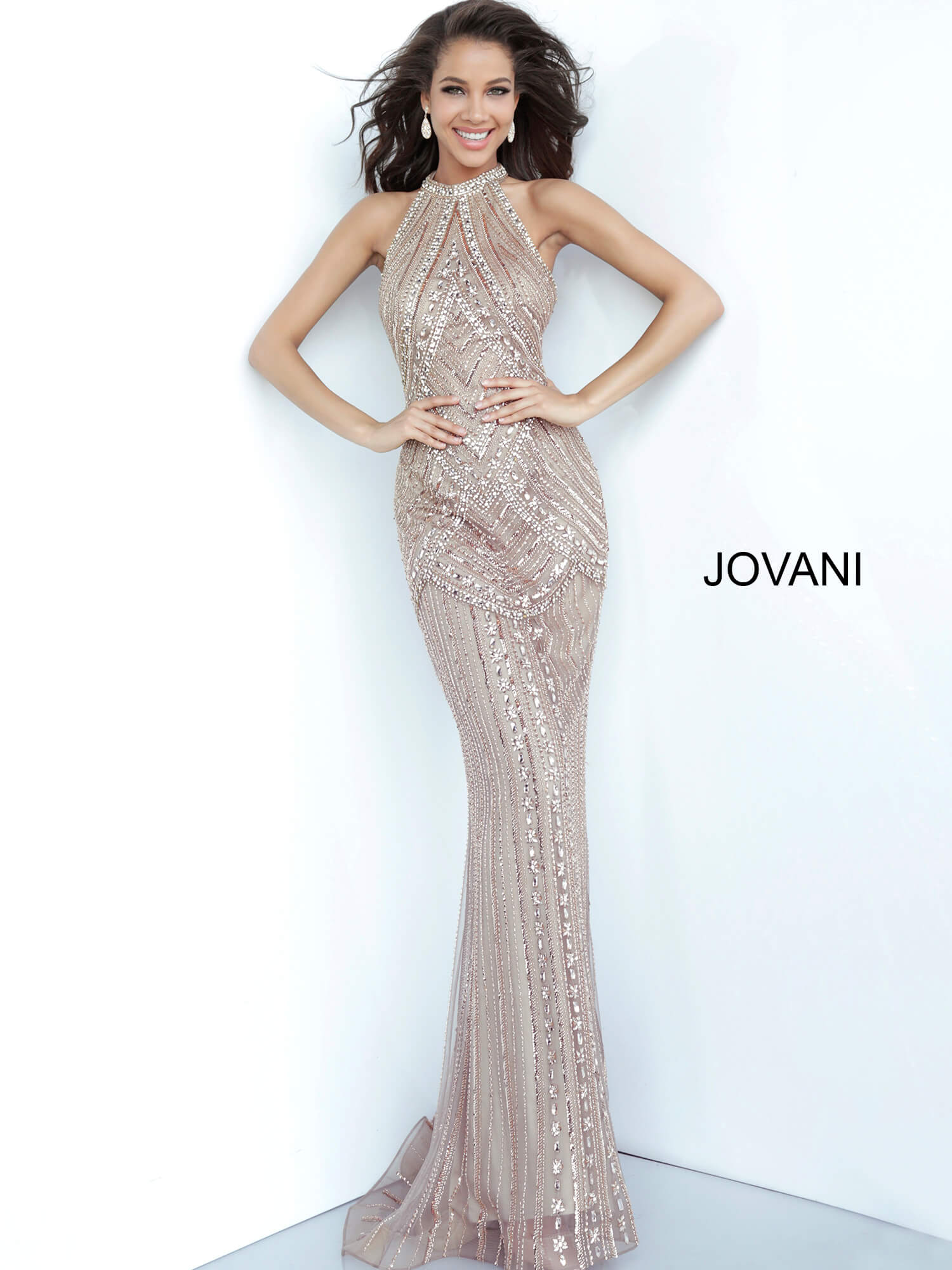 Jovani 2554 Champagne High Neck Beaded Evening Dress