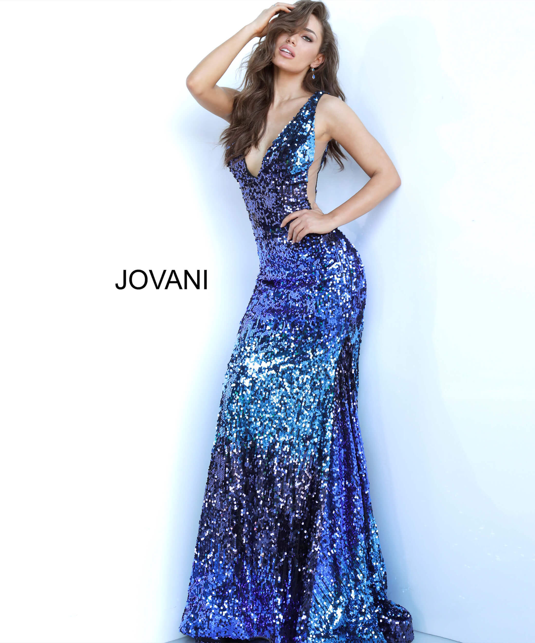 jovani Blue Multi Sequin Plunging V Neck Jovani Dress 3192