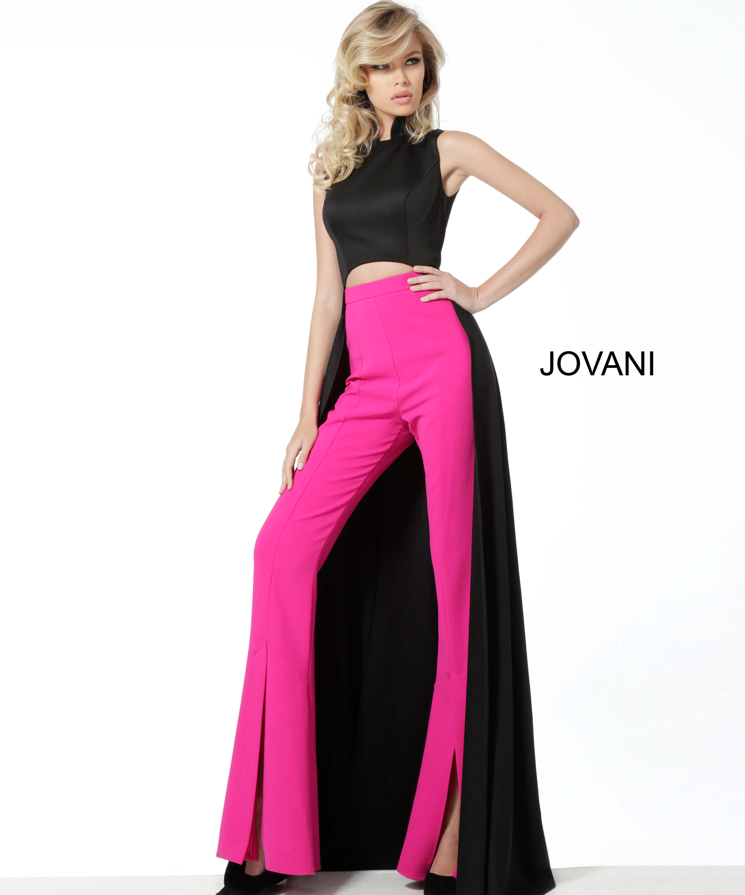 jovani Jovani 3377 Black Pink Two Piece Suit