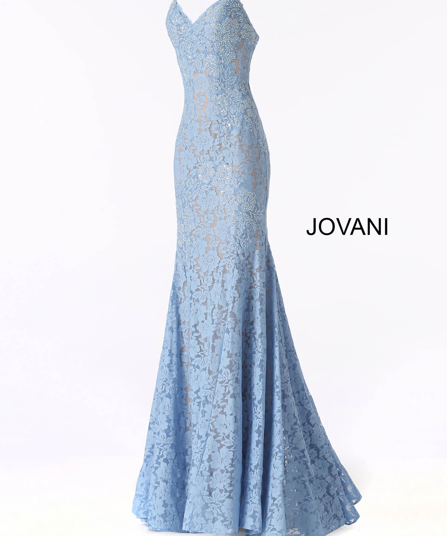 Jovani 37334 Emerald Strapless Fitted Lace Evening Dress