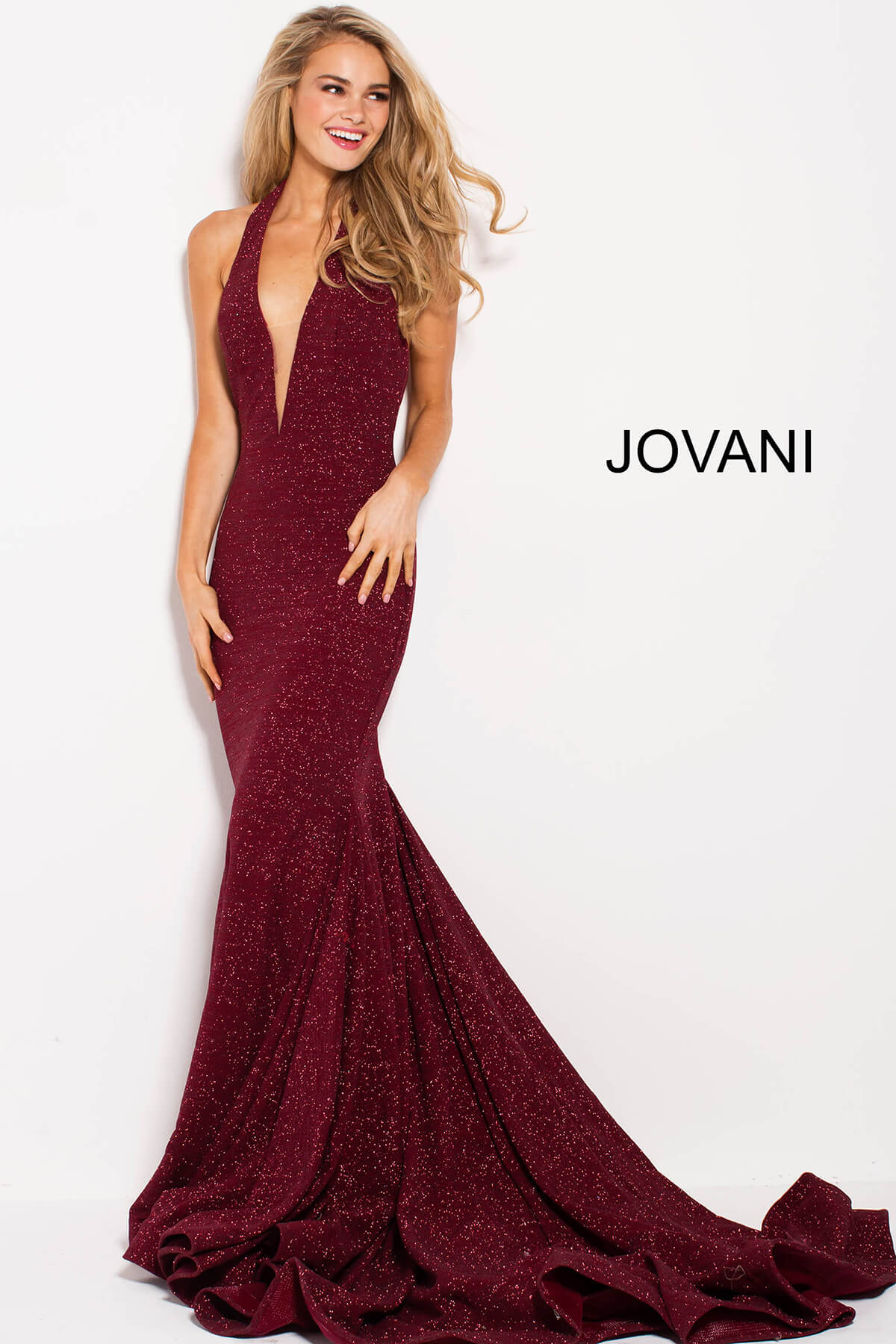 jovani Wine Glitter Halter Neck Jovani Dress 55414 on mobile 12