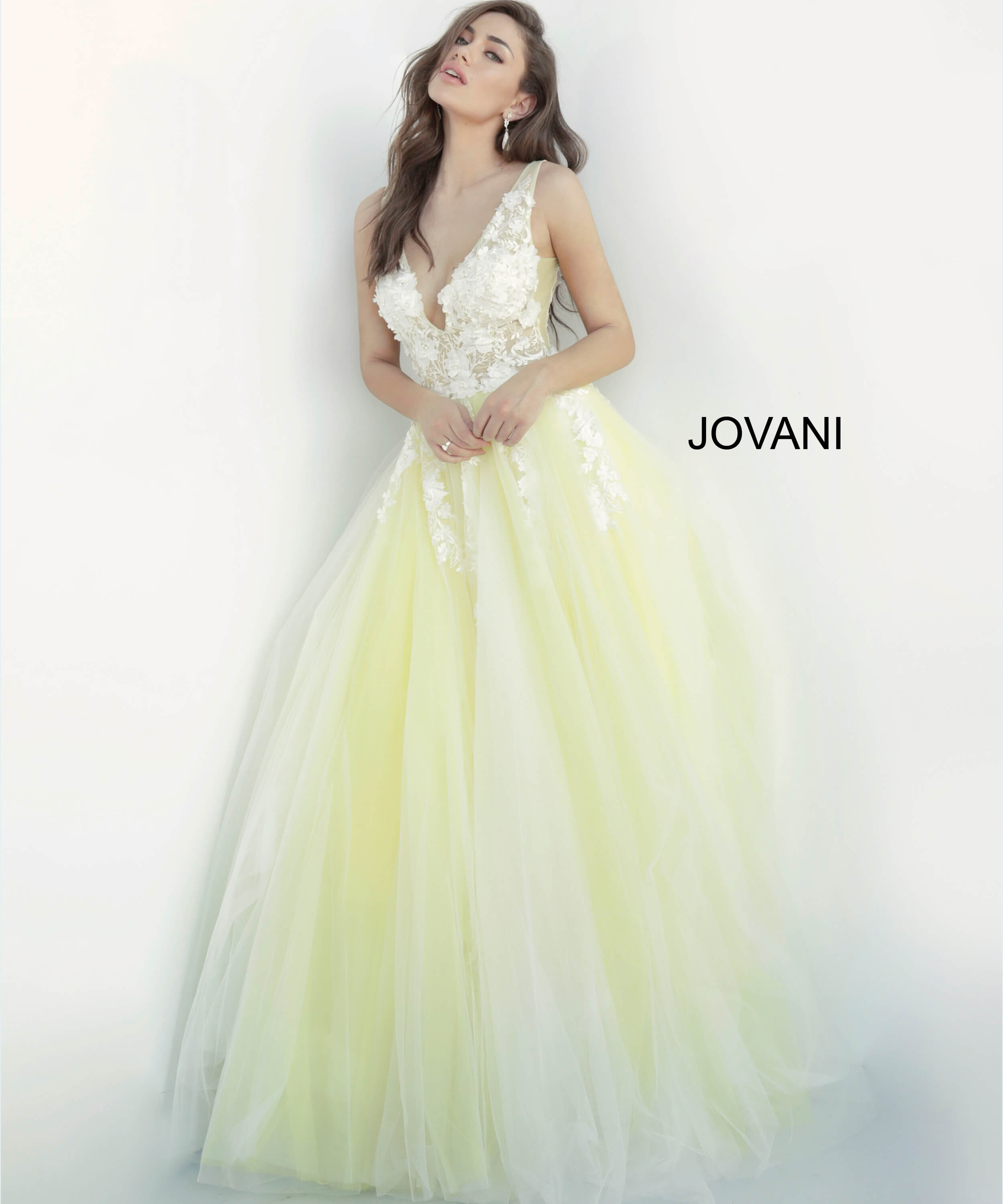 Jovani 55634 | Floral Applique V Neck