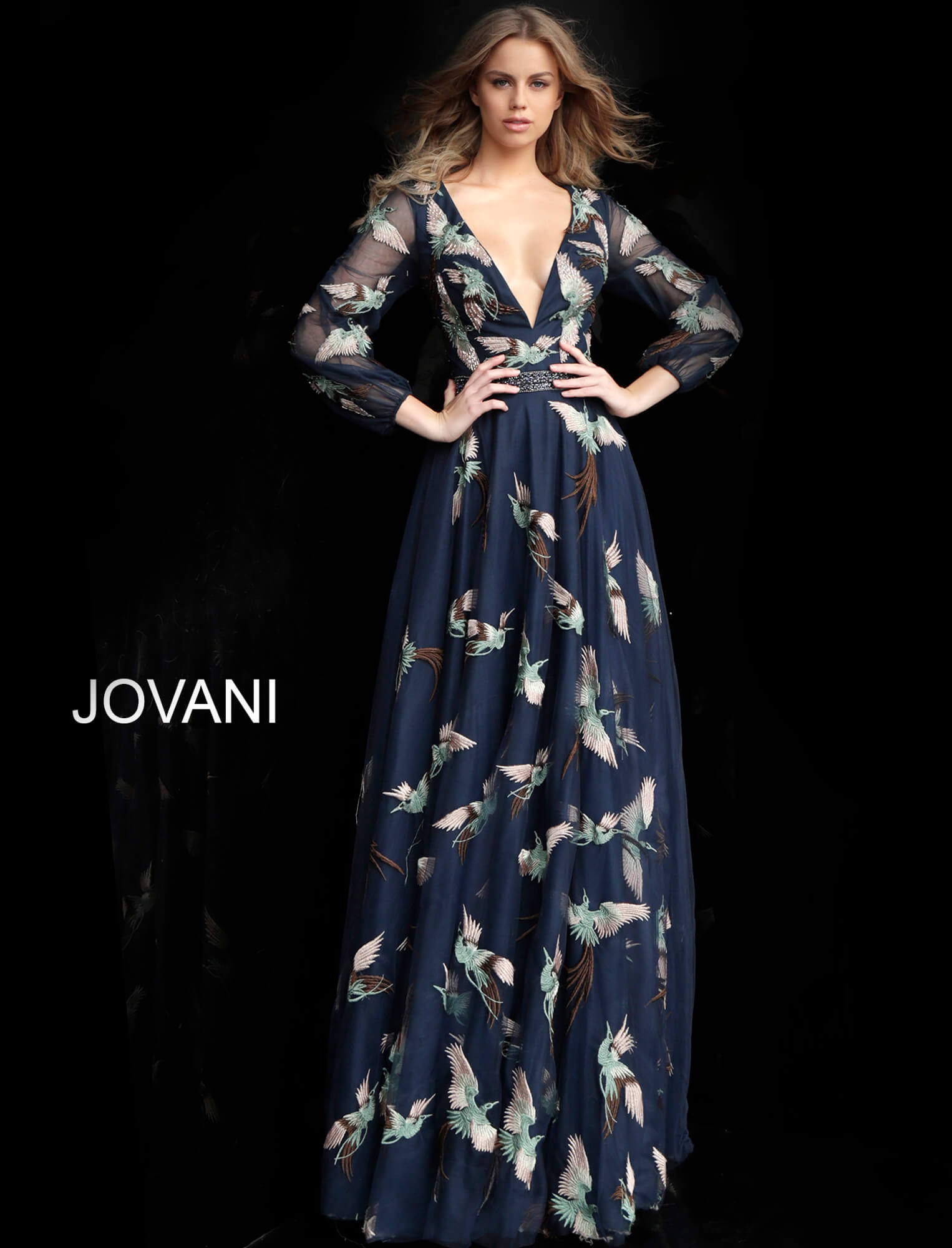 jovani Navy Embroidered Long Sleeve V Neck Prom Gown 55717 on mobile 3