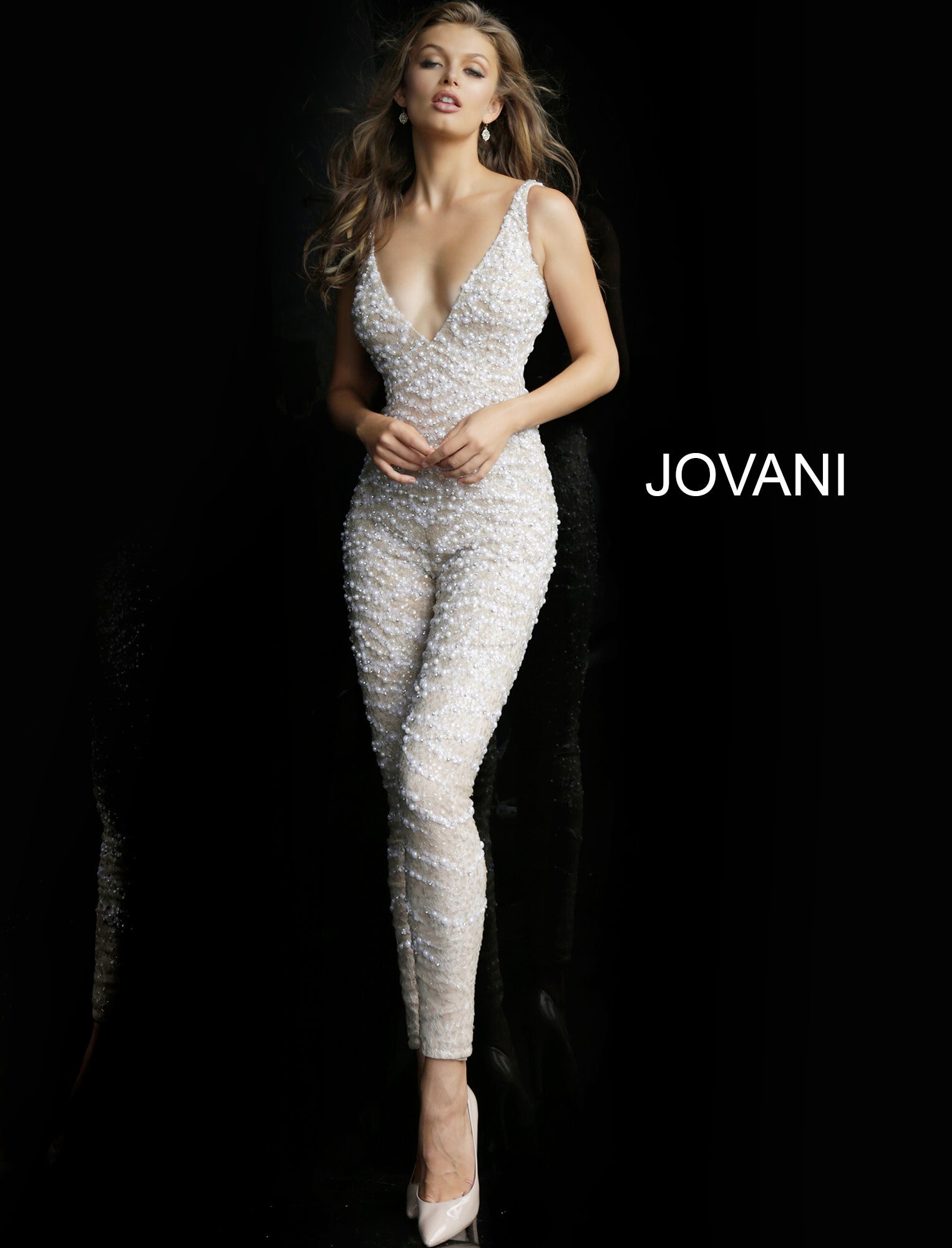 jovani Nude White Plunging Neckline Beaded Prom Jumpsuit 60010