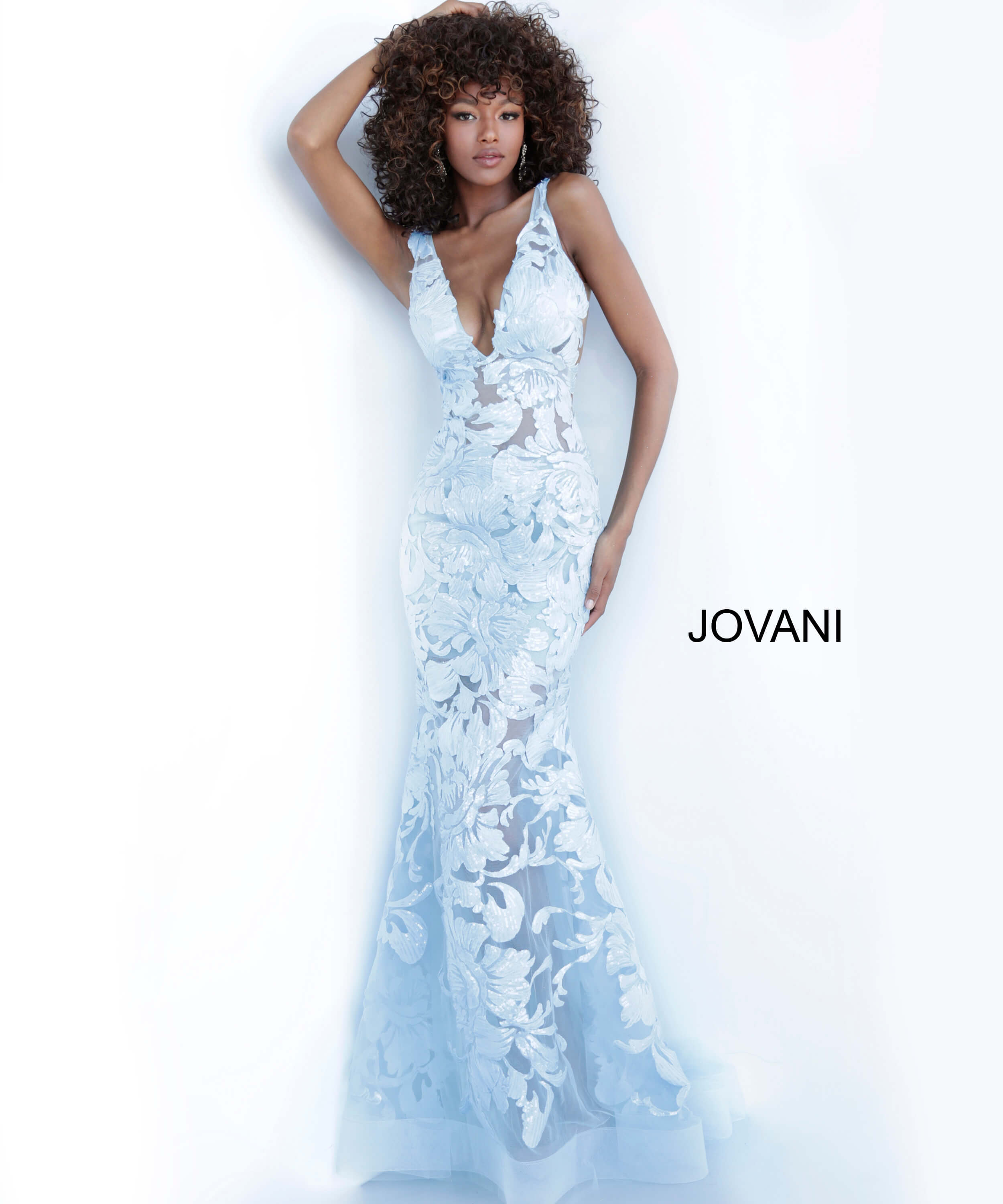 light blue plunging neck prom dress Jovani 60283