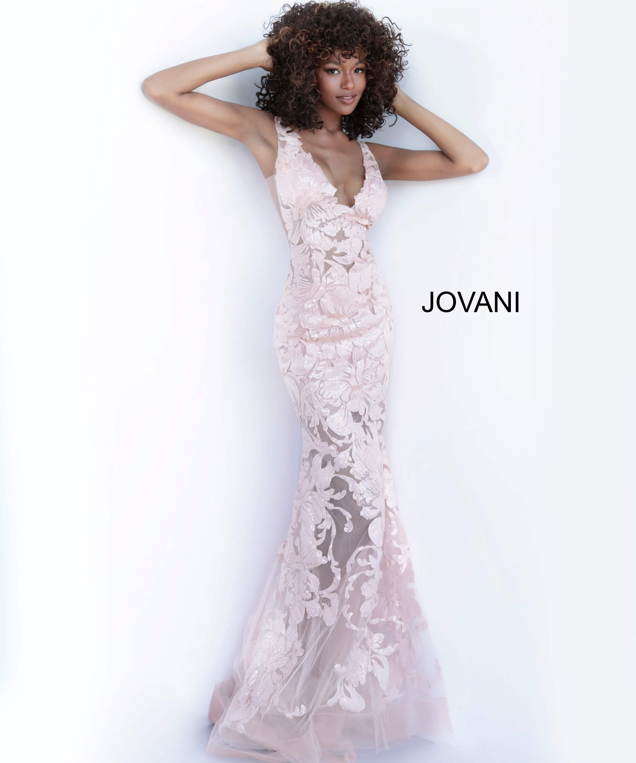 jovani Jovani 60283 Rose V Neck Sexy Prom Dress