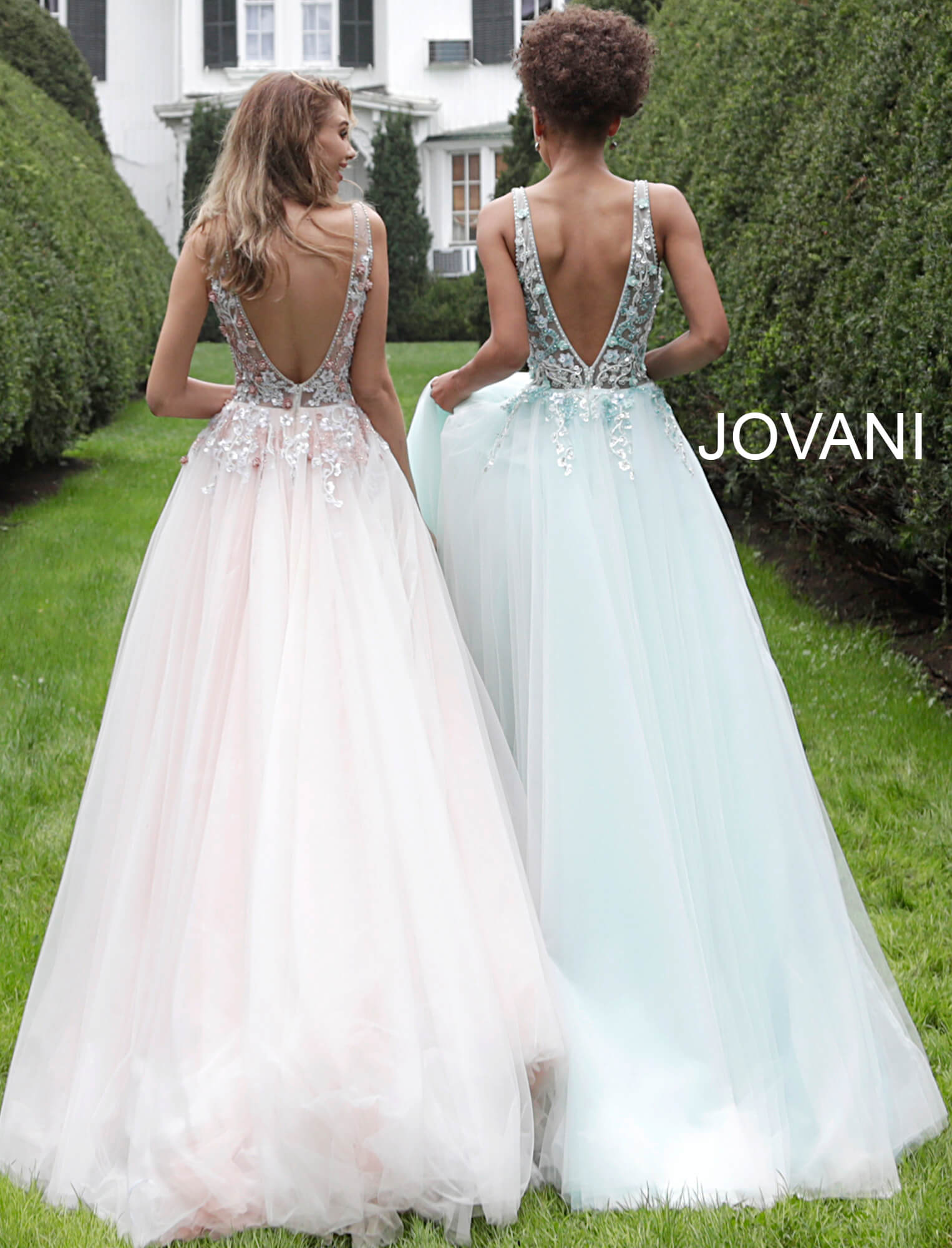 Jovani sheer bodice A-line prom gown 61109 on mobile 2