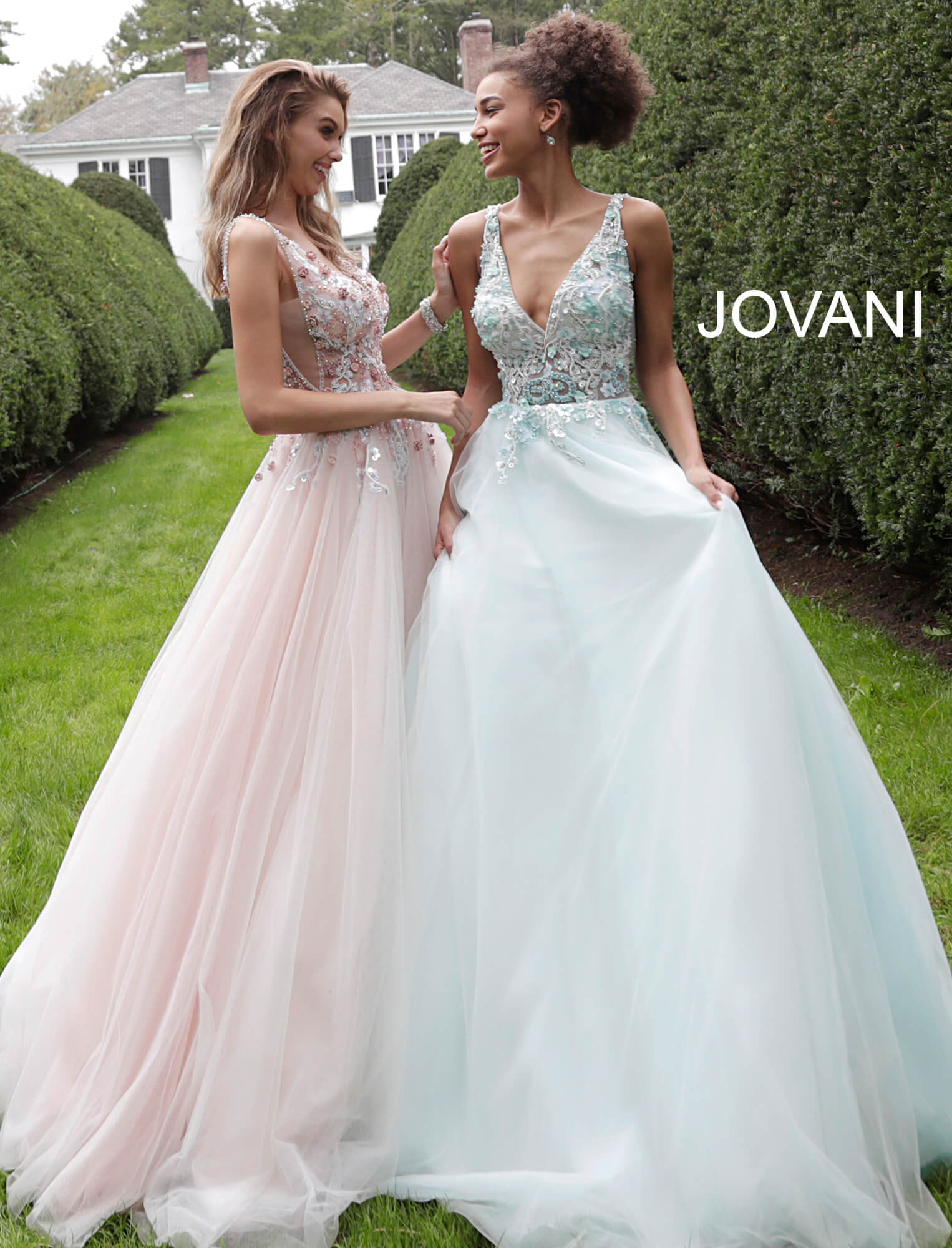 jovani Floral Embellished V Neck Jovani Ballgown 61109 on mobile 6