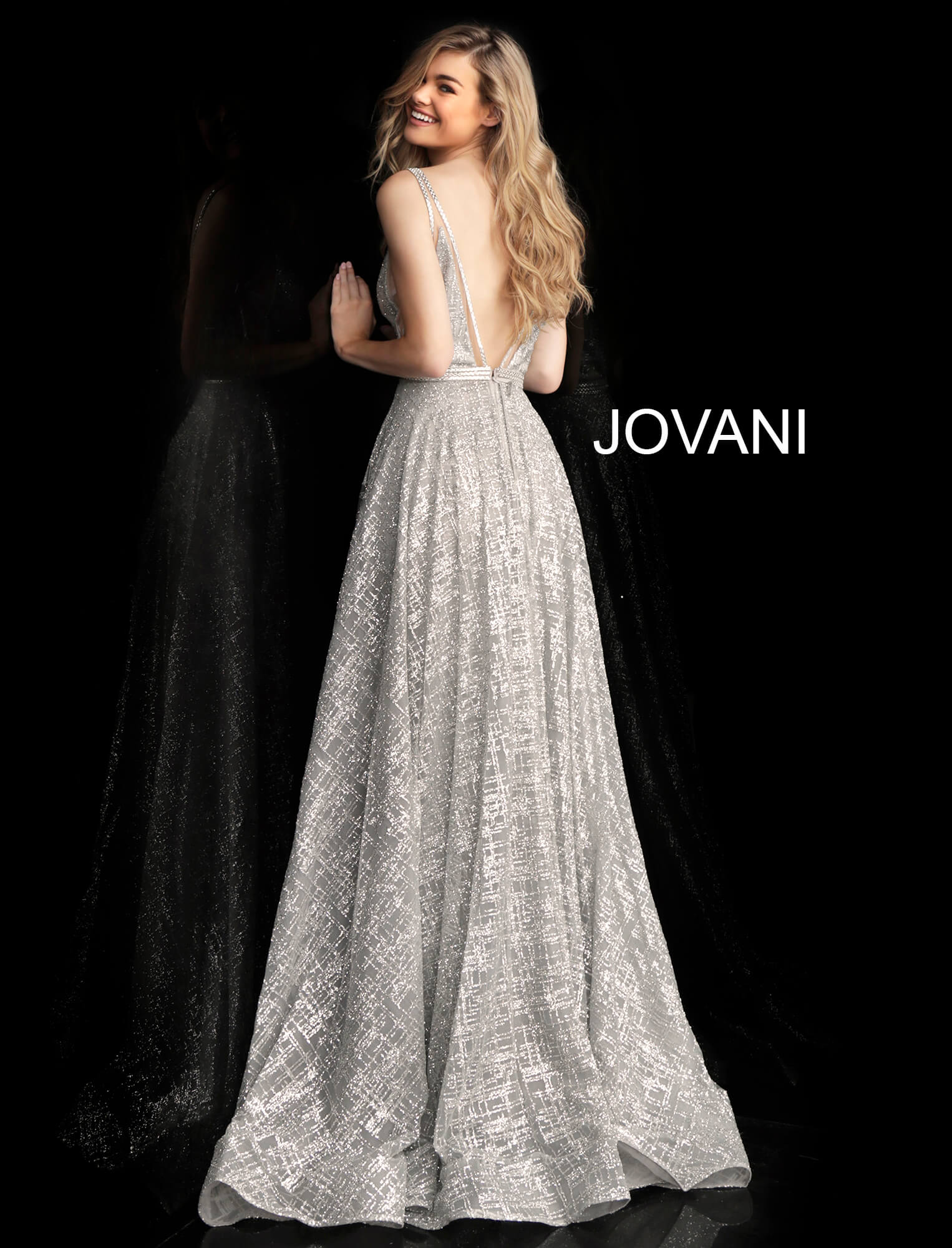 Silver long v back sleeveless prom dress 62515
