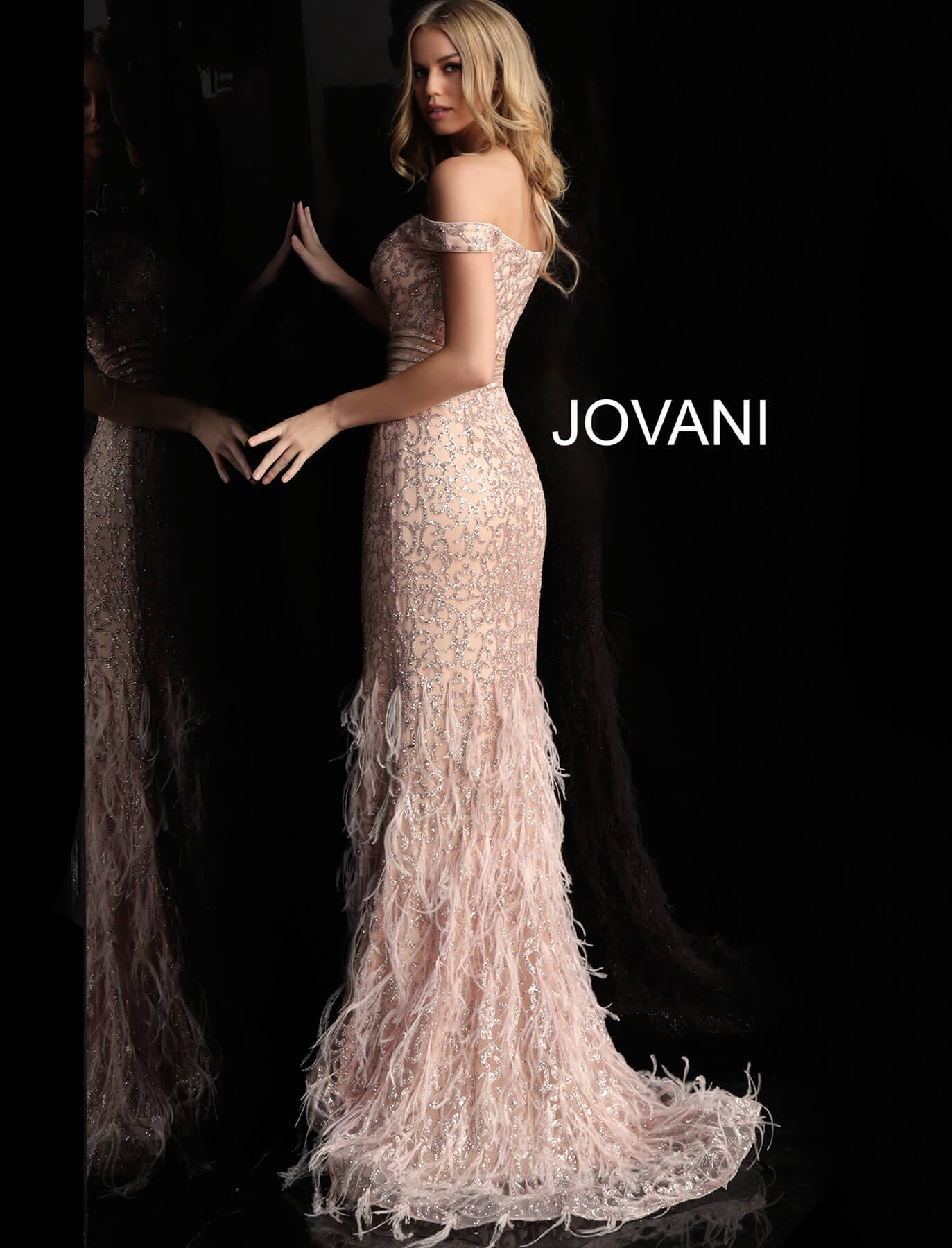 fd588bb77e7f Jovani 62744 Rose gold long fitted embellished feather bottom prom dress.