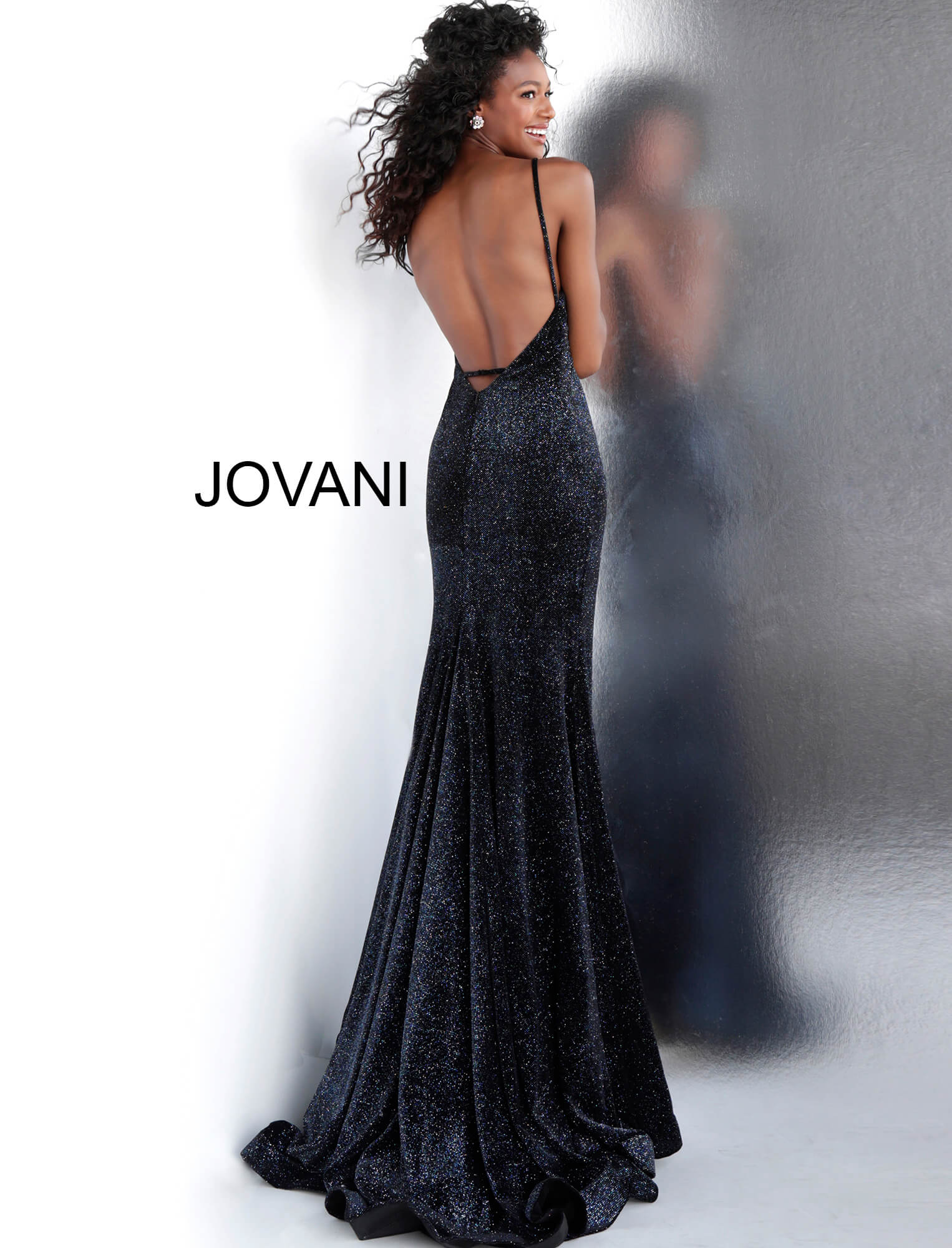 889a7e4afa Black Blue Backless Fitted Glitter Jovani Prom Dress 62806