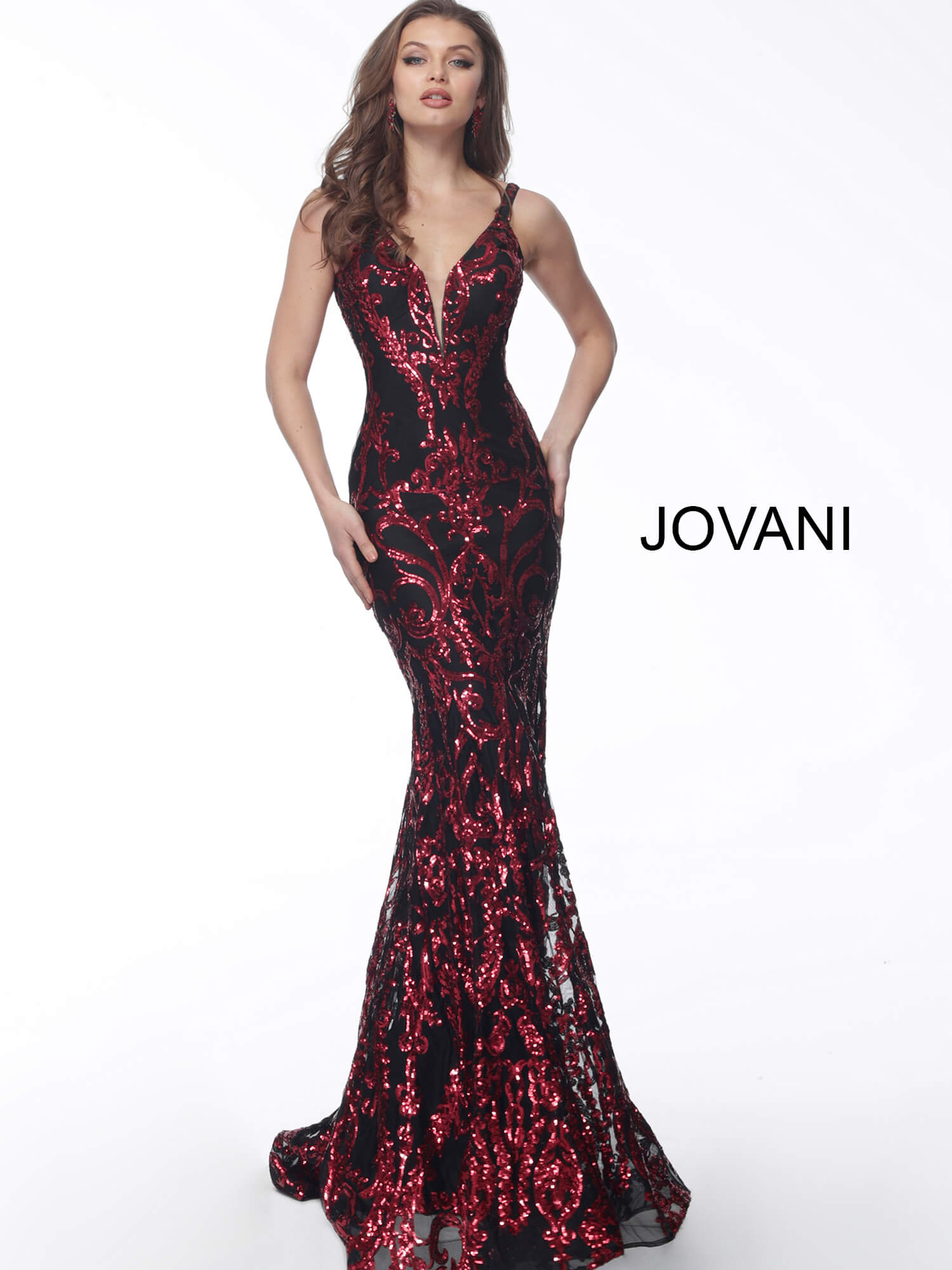 black red sequin prom dress Jovani 63350