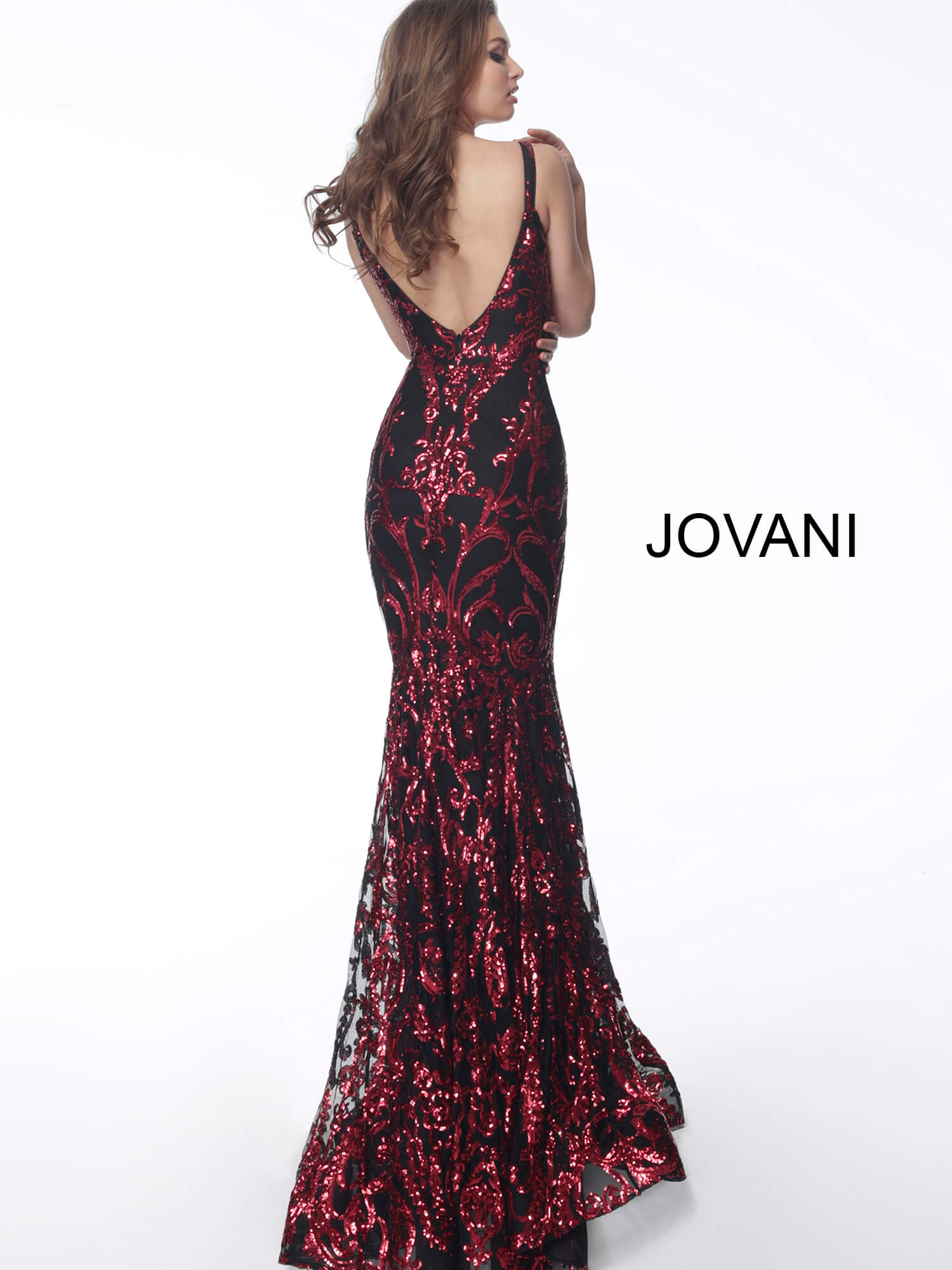 black red open back prom dress Jovani 63350