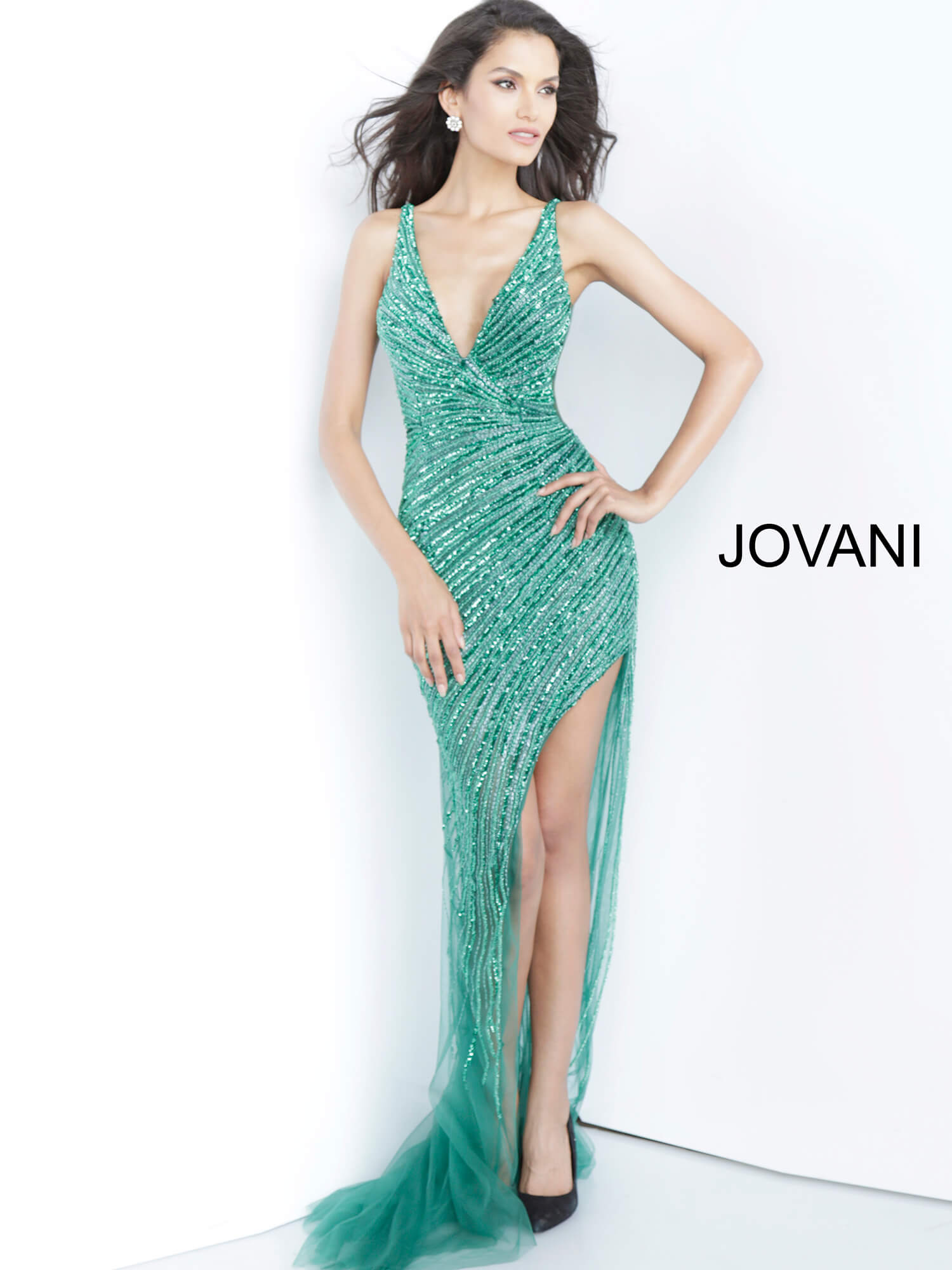everald plunging neckline prom dress Jovani  63405 on mobile 1
