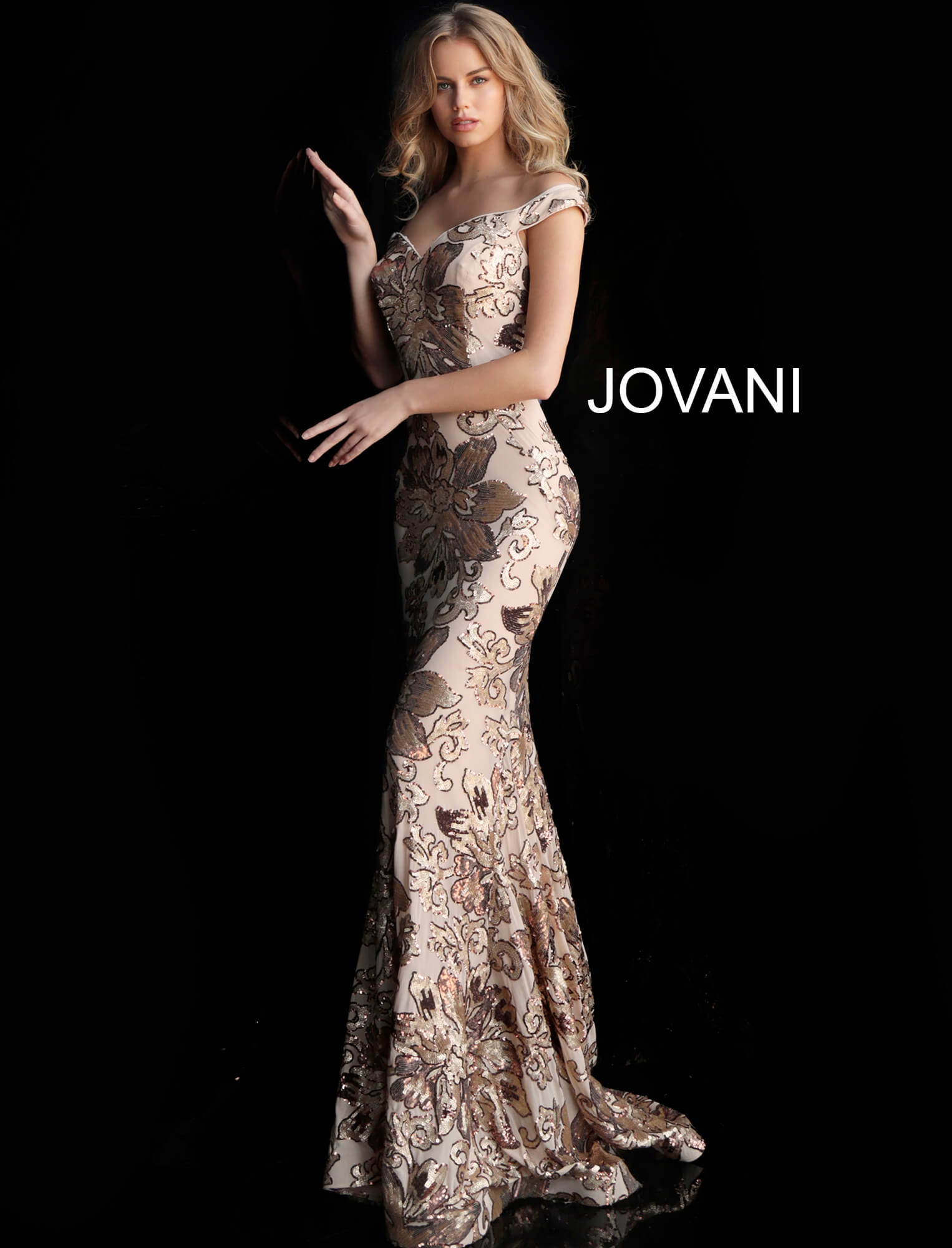 copper gold jovani prom dress 63516 side view