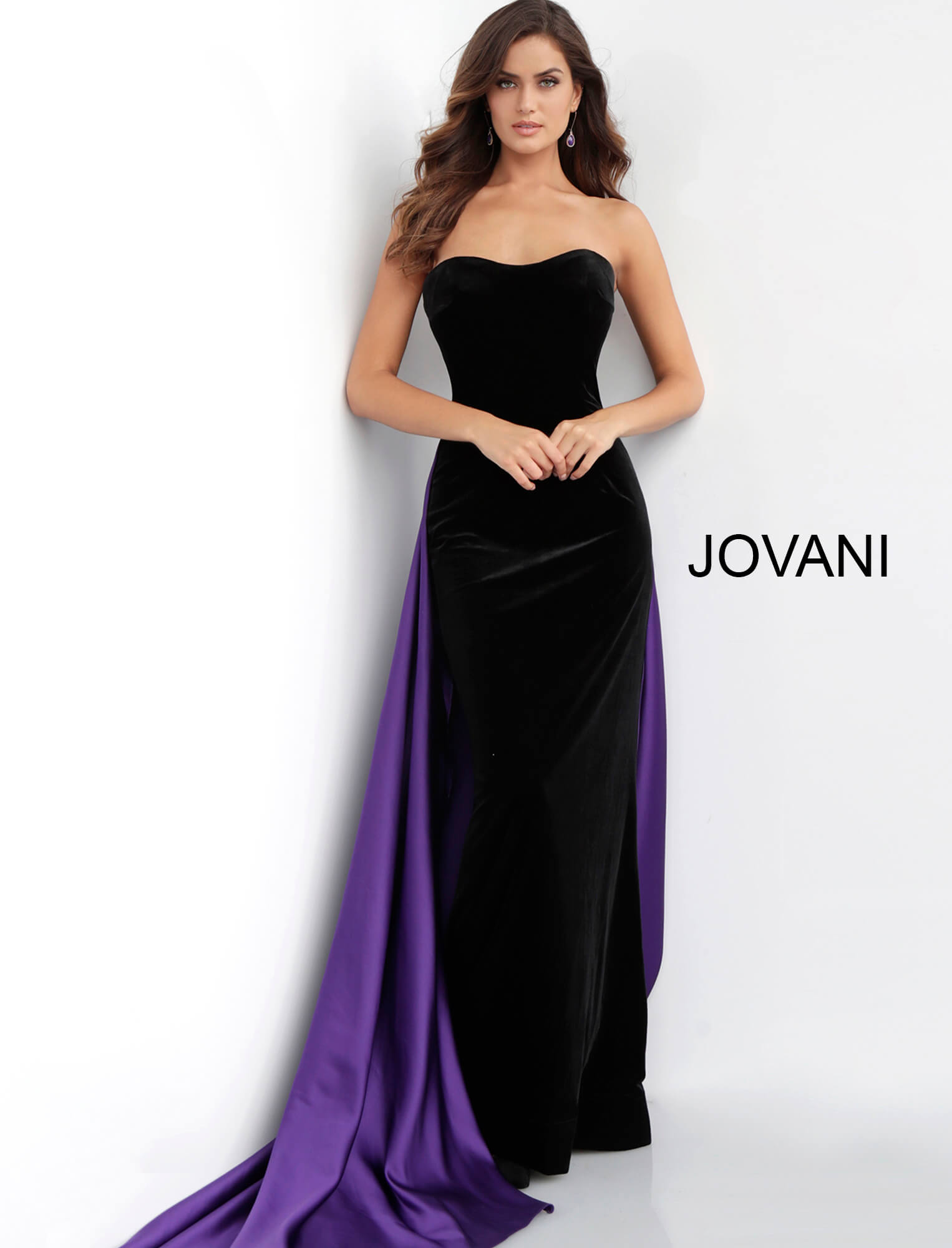 Black and Purple Long Prom Dress