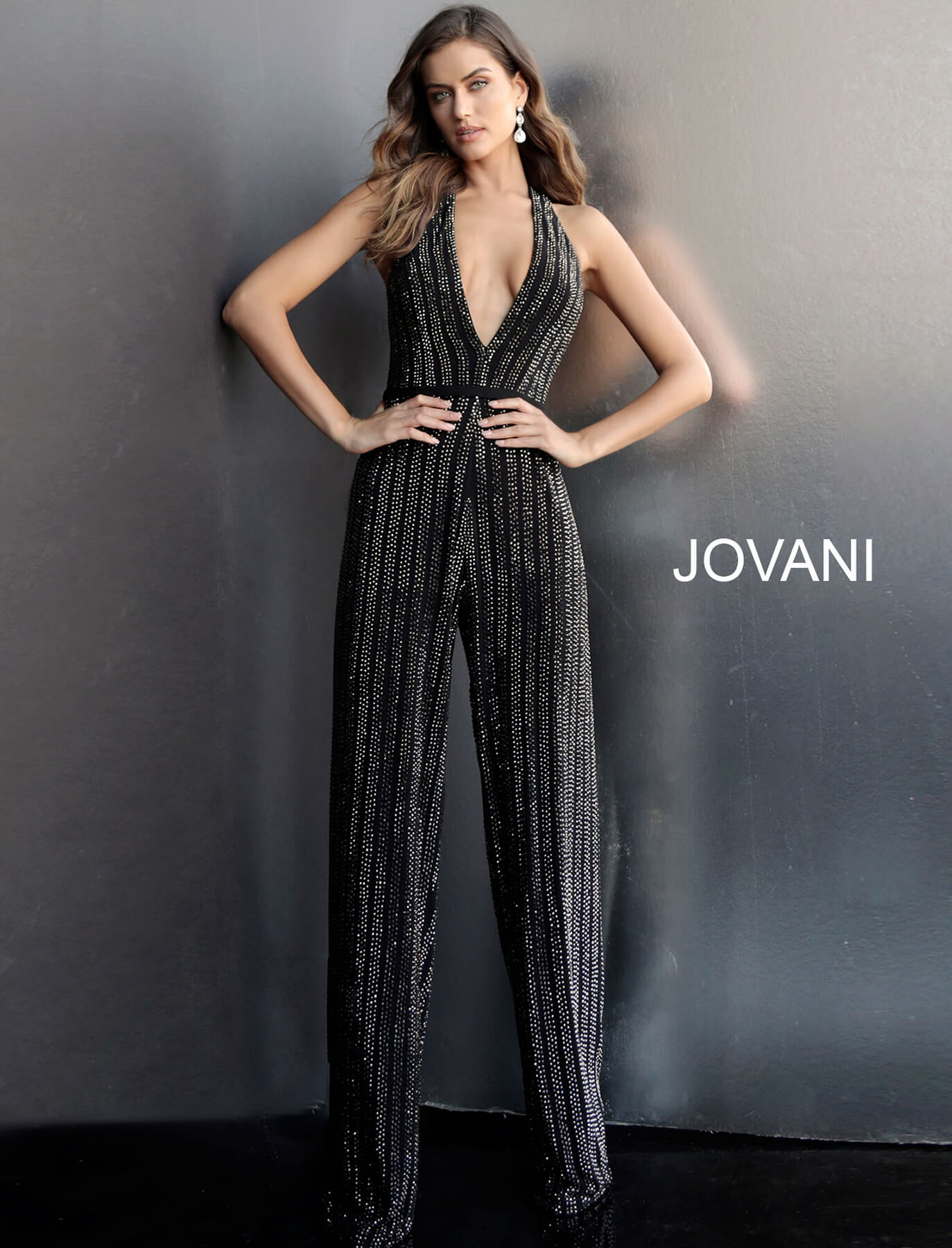 jovani Black Beaded Backless Low V Neck Prom Jumpsuit 65051 on mobile 1