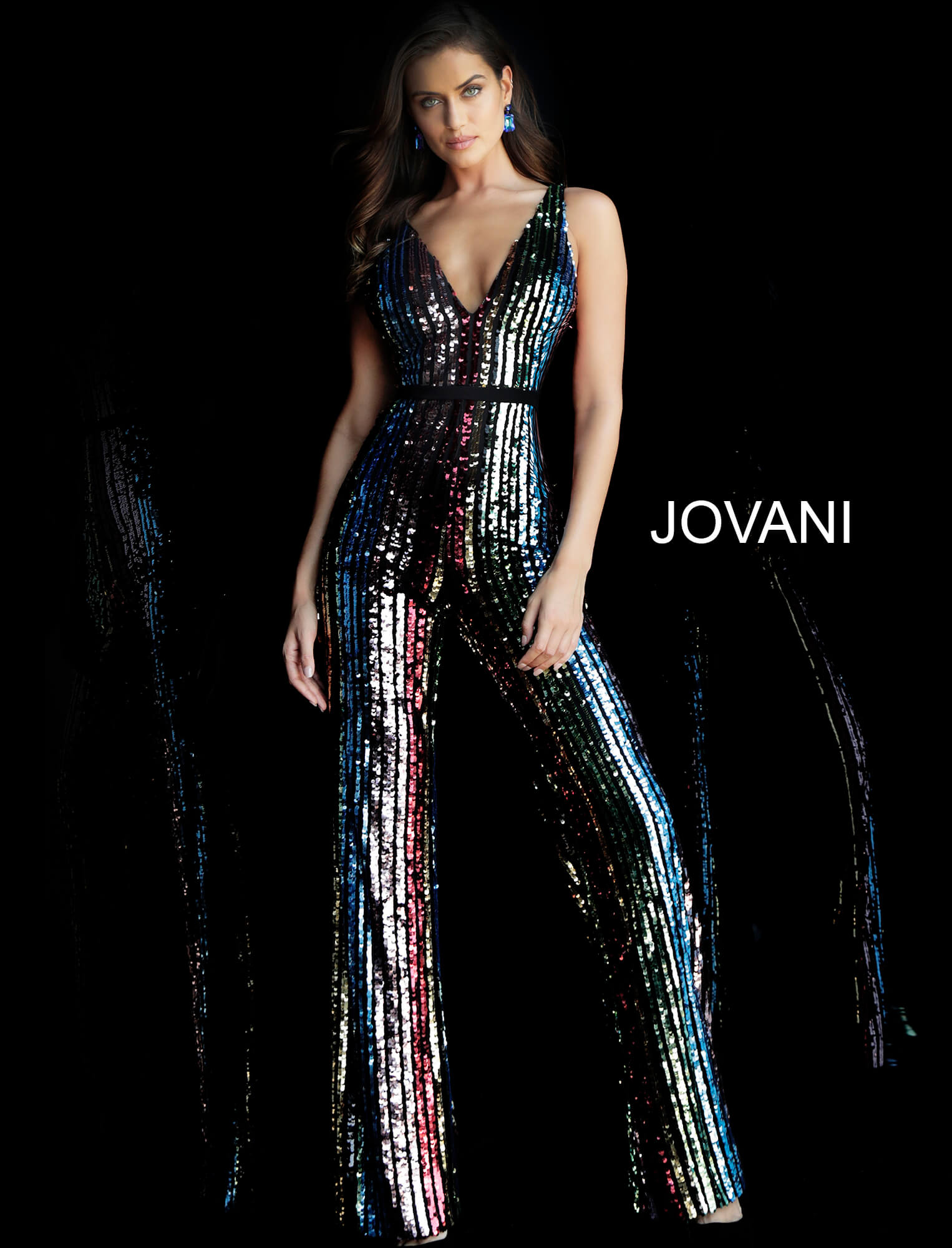 jovani Multi Sequin V Neck Prom Jumpsuit 65396