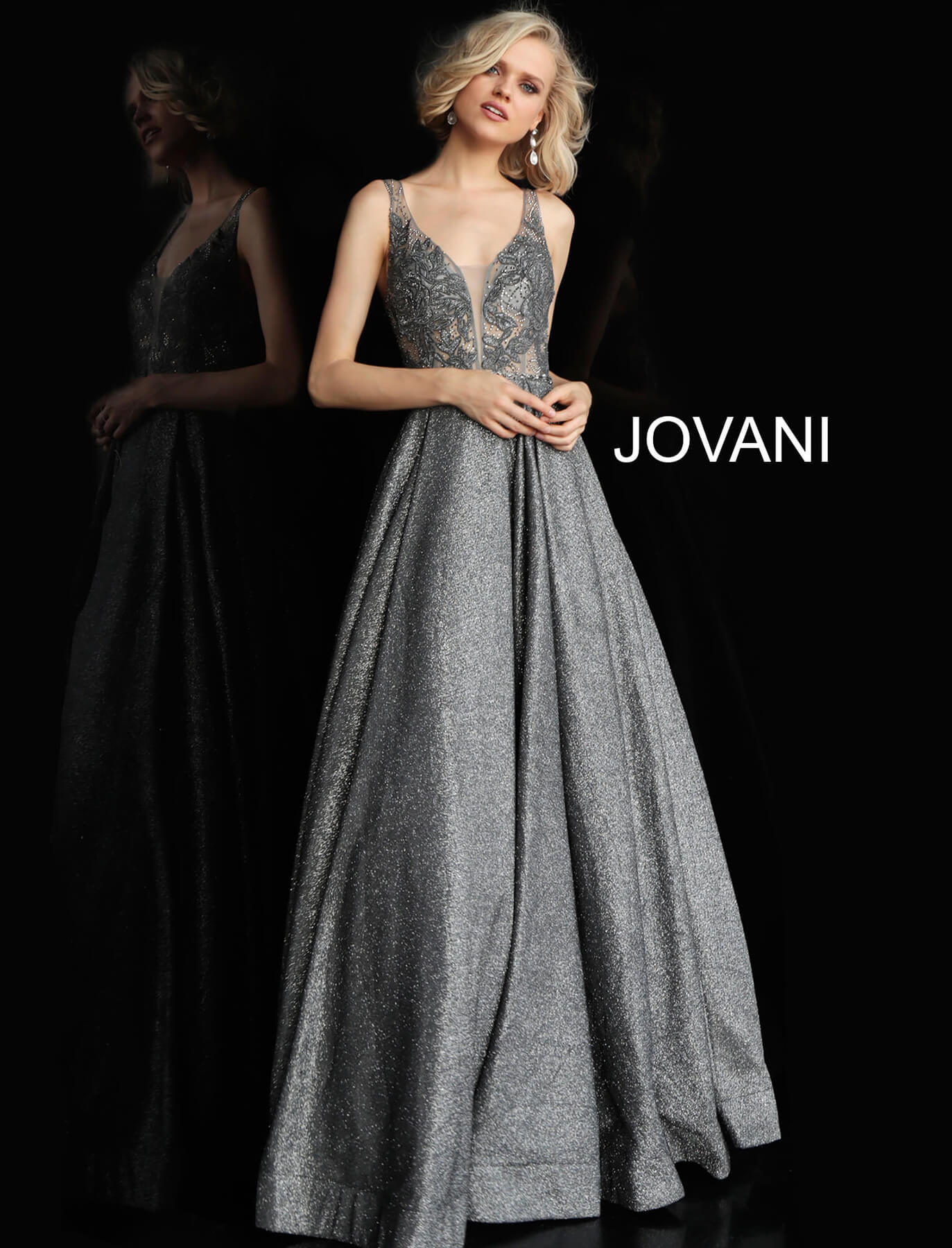 jovani Dark Grey Embellished Bodice Open Back Jovani Gown 65855