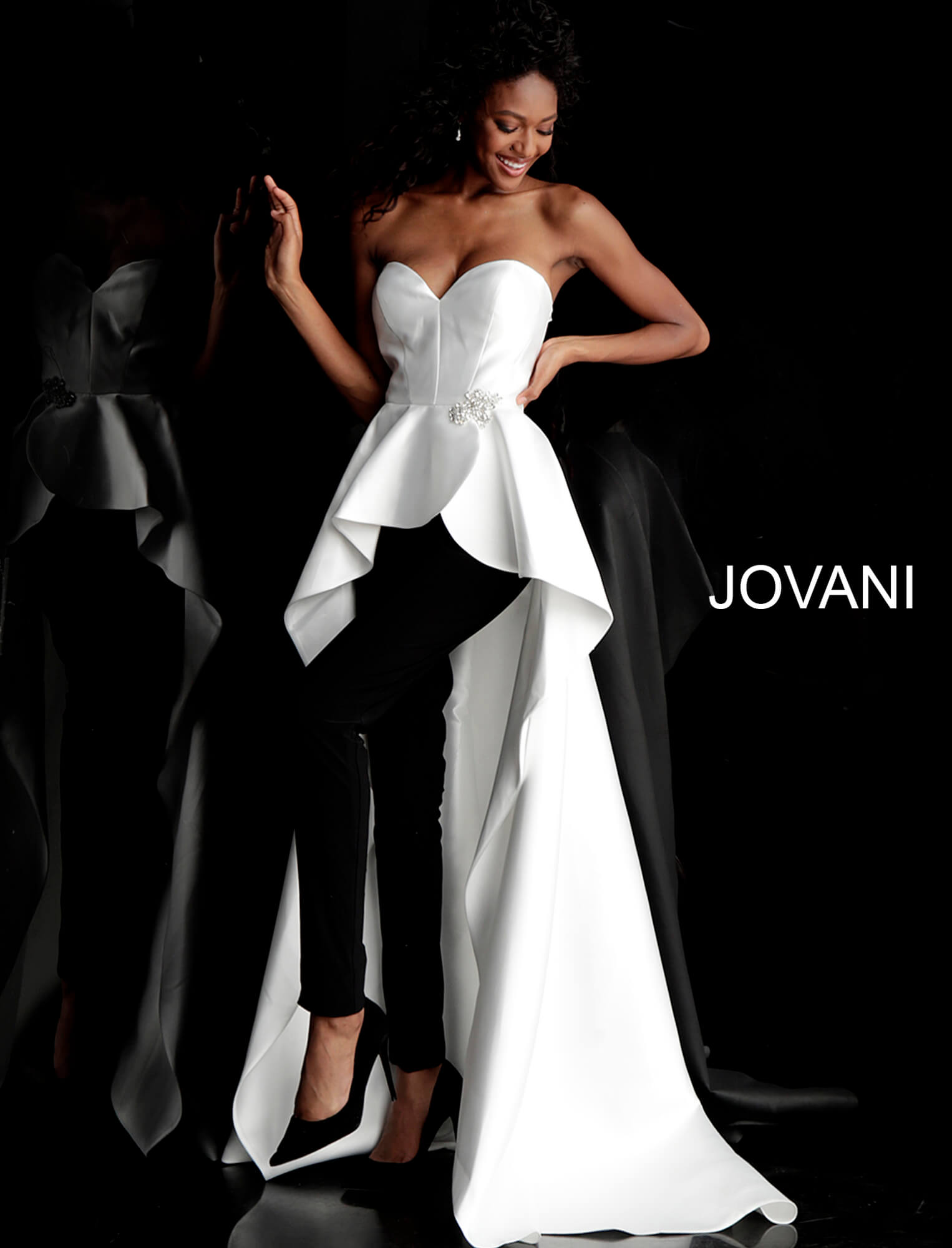 jovani Ivory Black Strapless Sweetheart Pantsuit with Overskirt 66852 on mobile 1