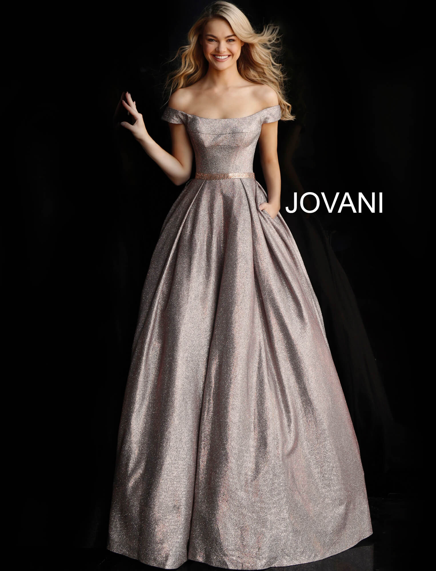jovani Off the Shoulder Jovani Prom Ballgown 66950