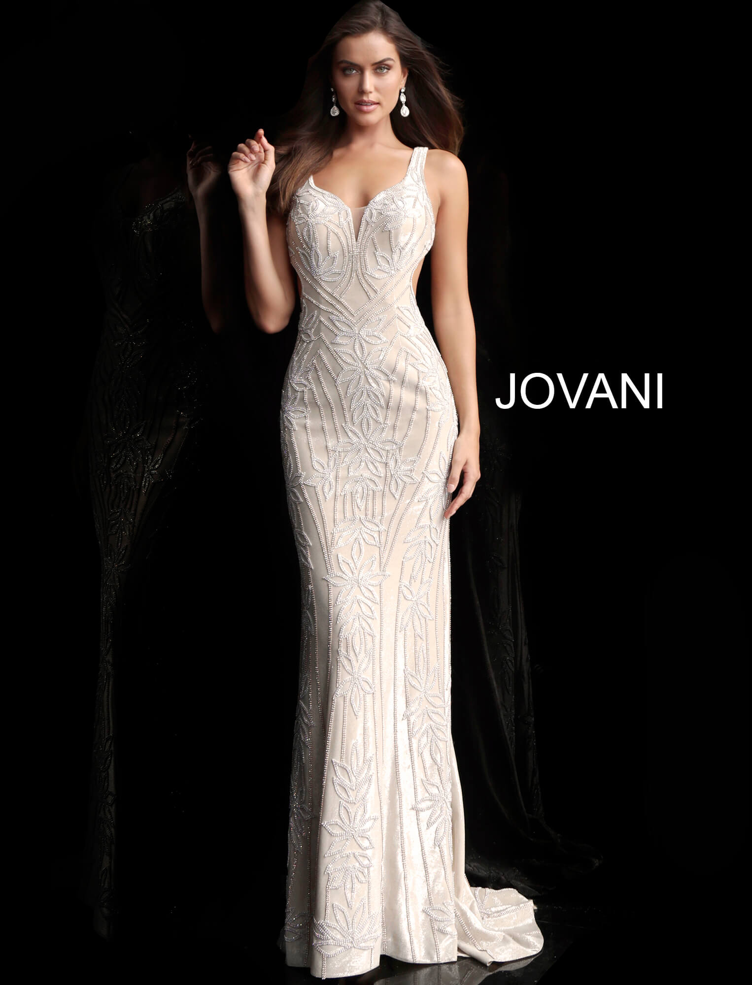 jovani Champagne Open Back Embellished Jovani Dress 66965