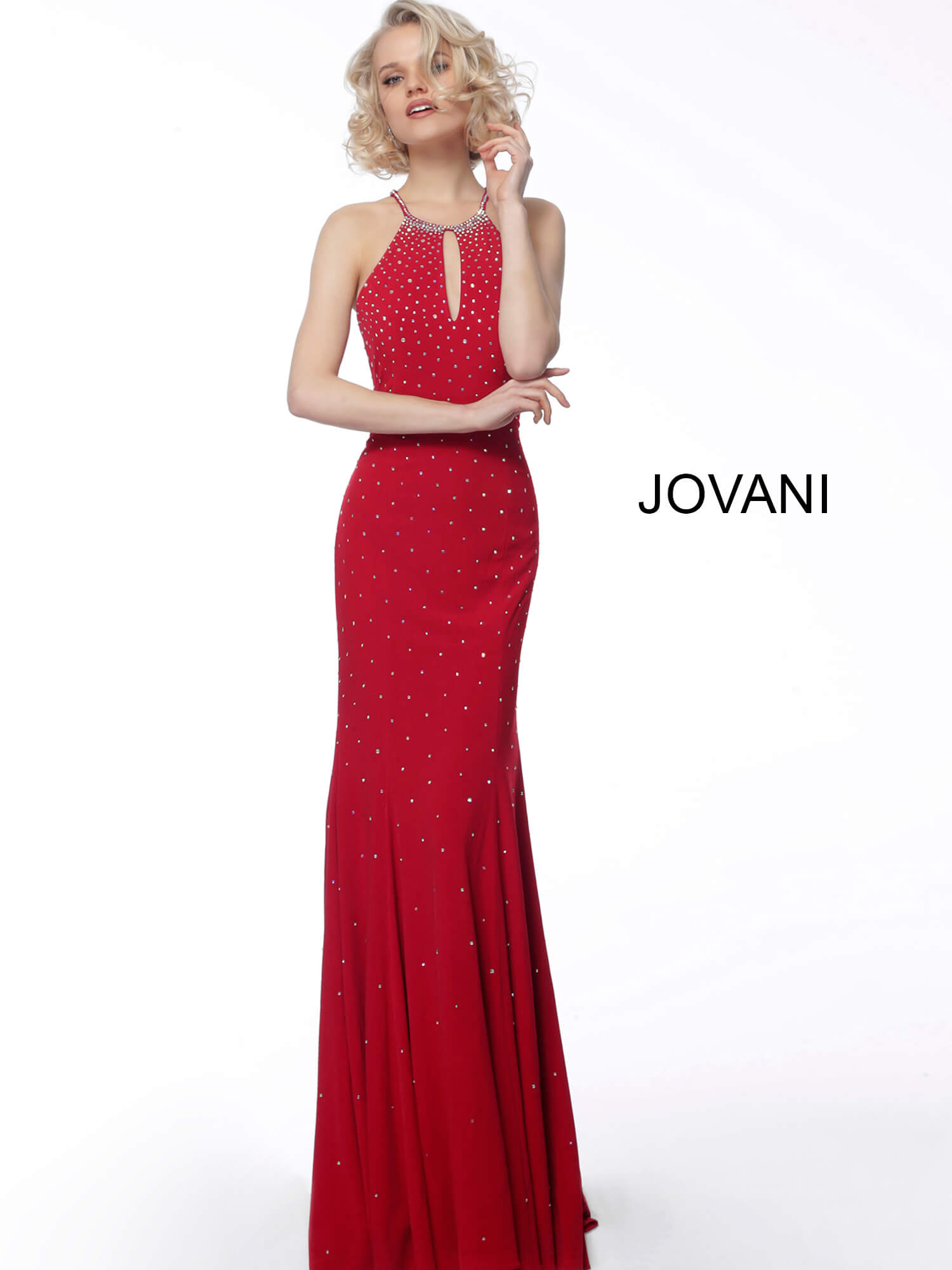 Red key hole neck prom dress Jovani 67101 on mobile 4