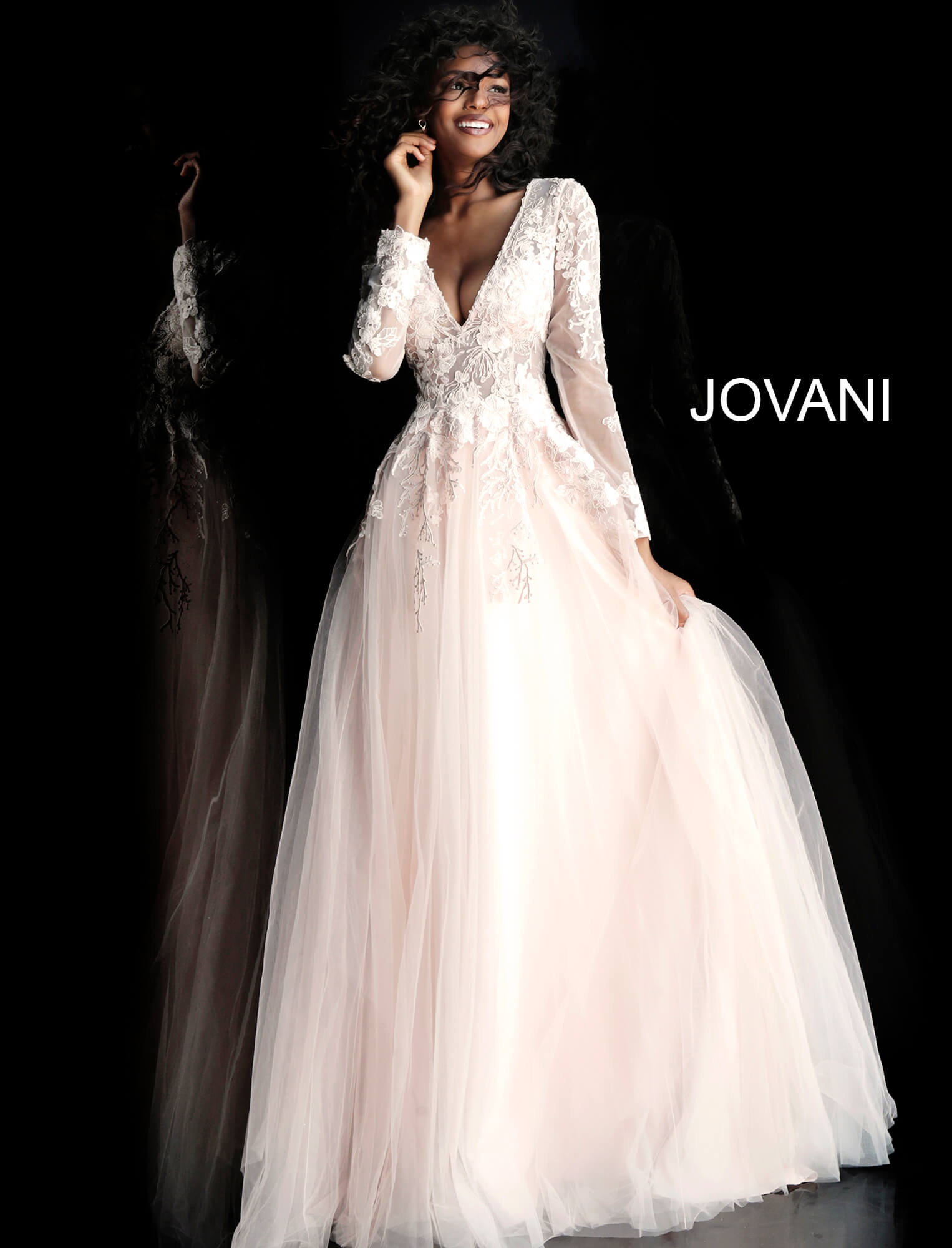 jovani Blush Floral Appliques Long Sleeve Prom Ballgown 67393