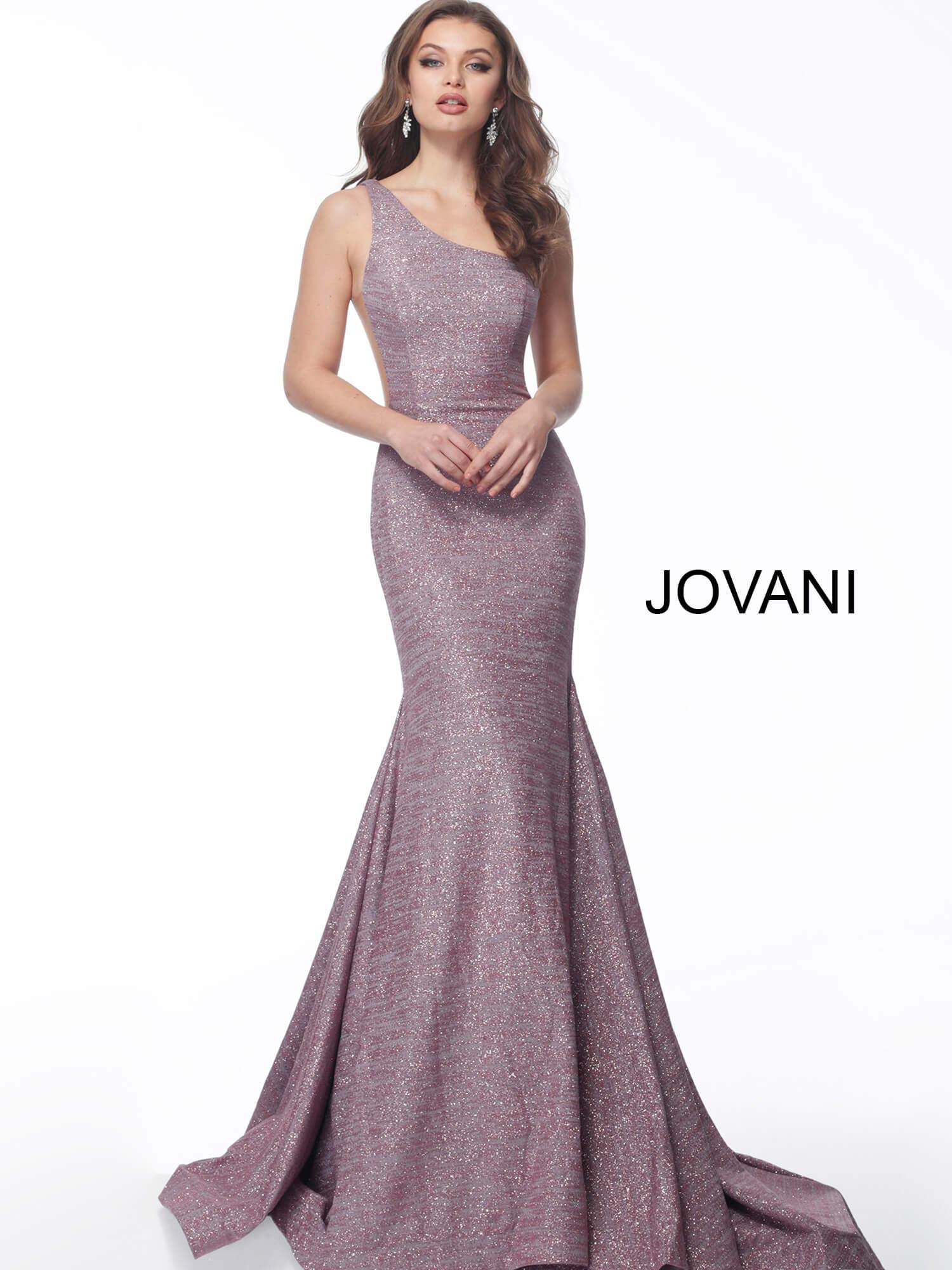 One Shoulder Stretch Glitter Prom Dress