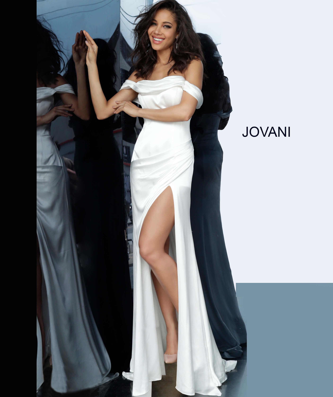 Jovani 68087 White Satin Sheath Off The Shoulder Dress