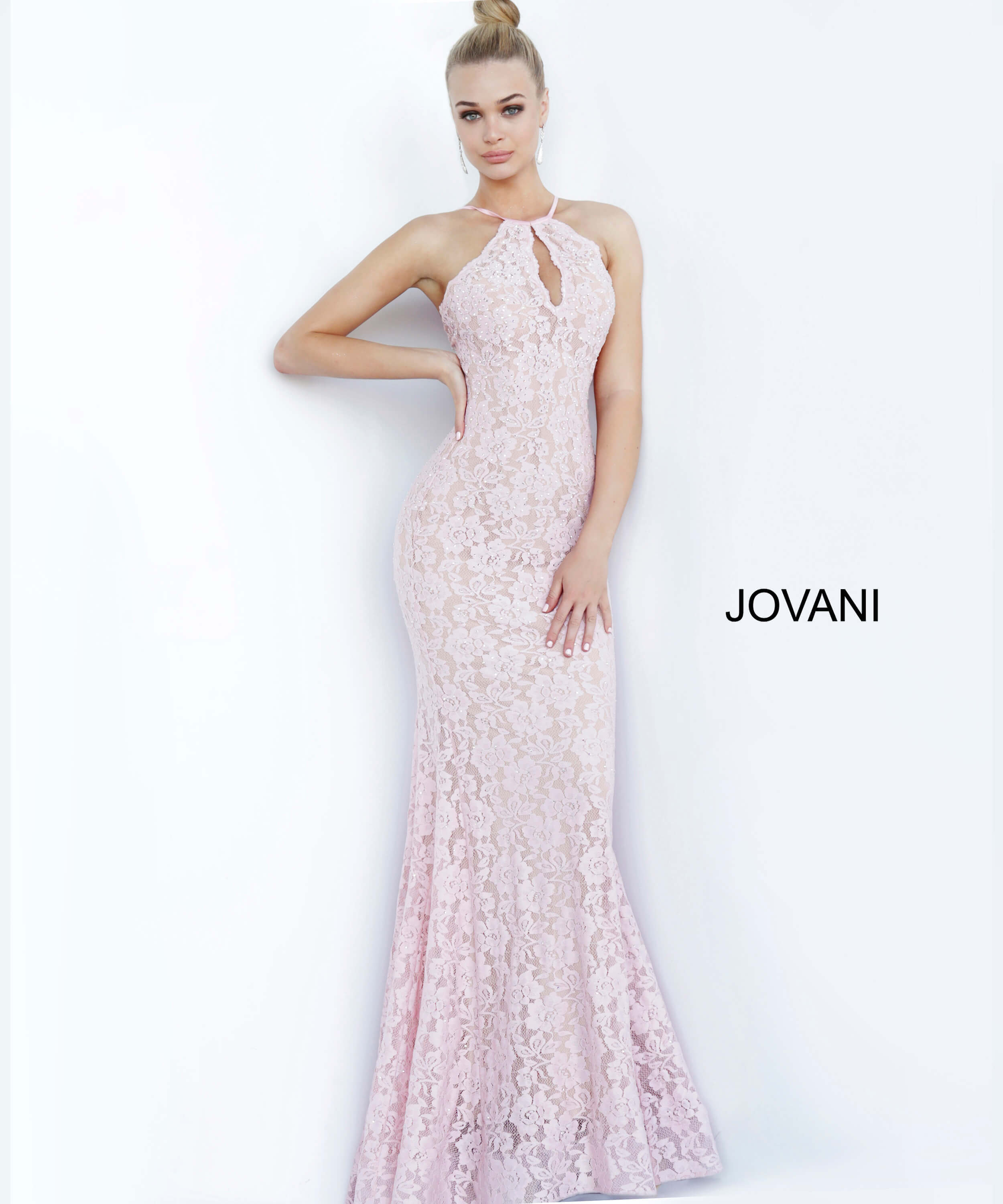 jovani Light Pink Lace Fitted Prom Dress 68431
