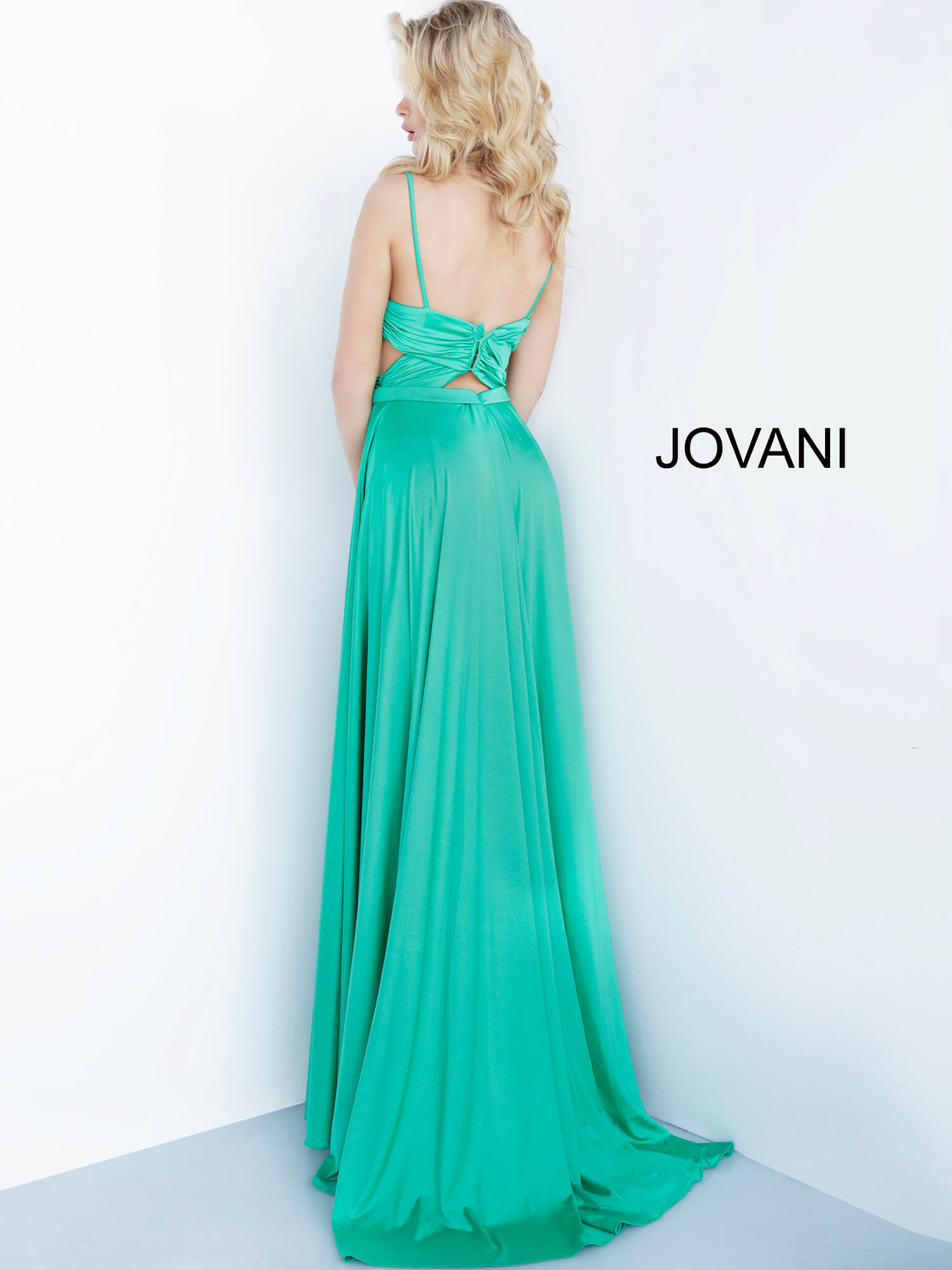 green side cut outs prom dress 68642 on mobile 1