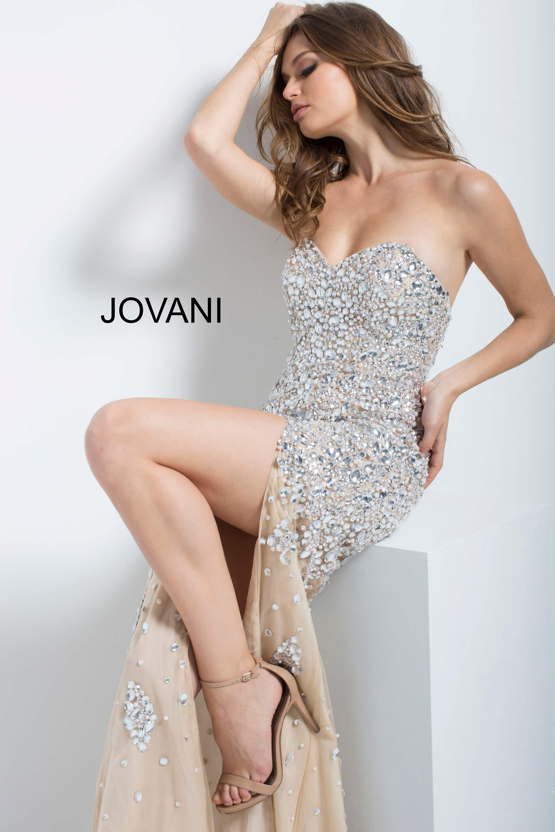 jovani Nude and Silver Embellished Prom Dress 4247 on mobile 13